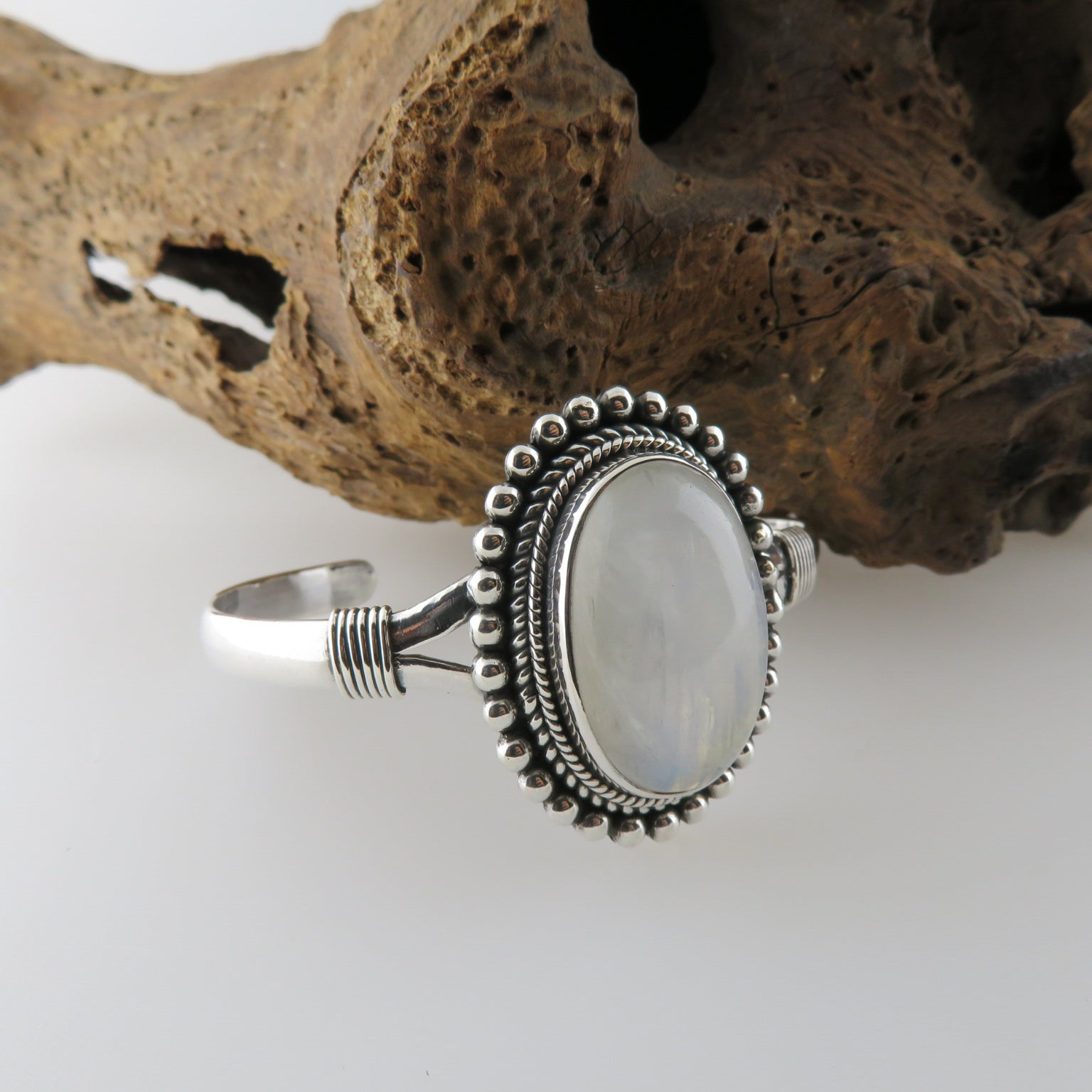 Rainbow Moon Stone Bangle with Sterling Silver