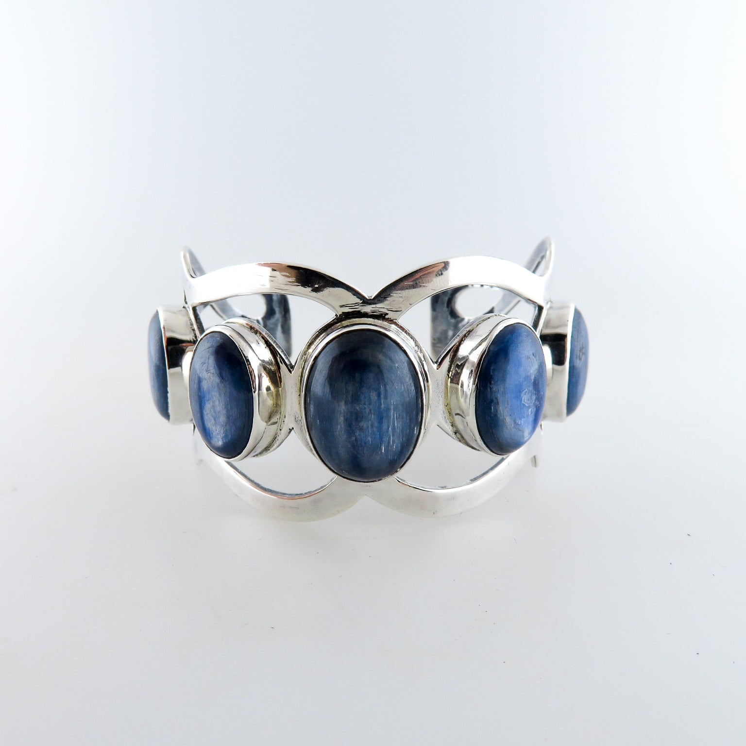Kyanite Bangle with Sterling Silver