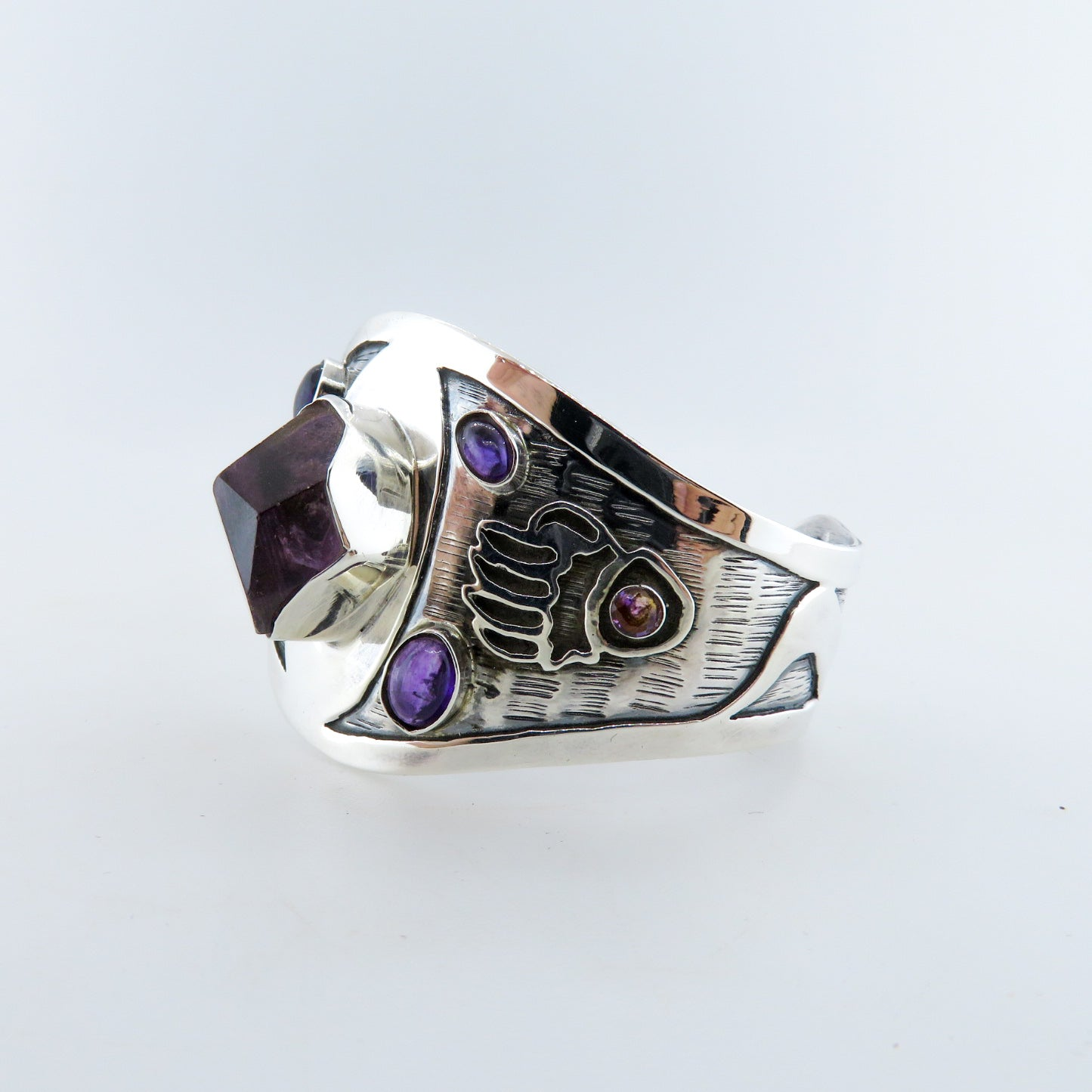Amethyst Bangle with Sterling Silver