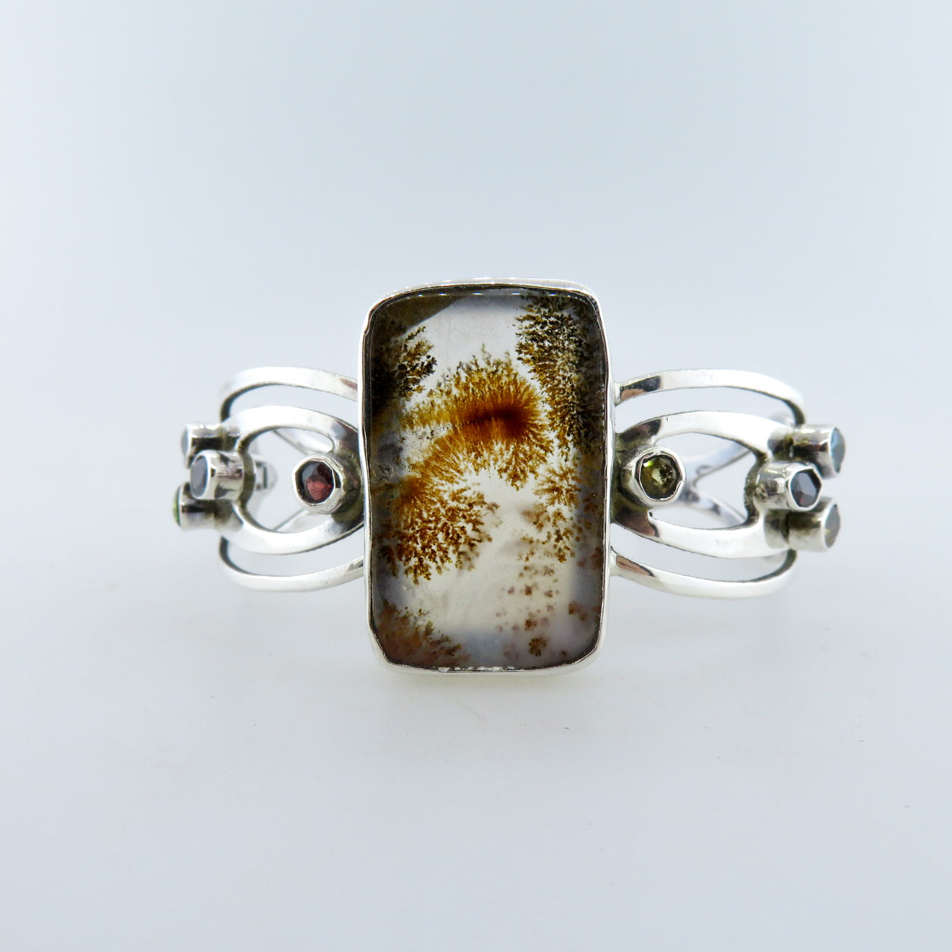 Agate Sterling Silver Bangle with Amethyst, Blue Topaz, Citrine, Garnet and Onyx