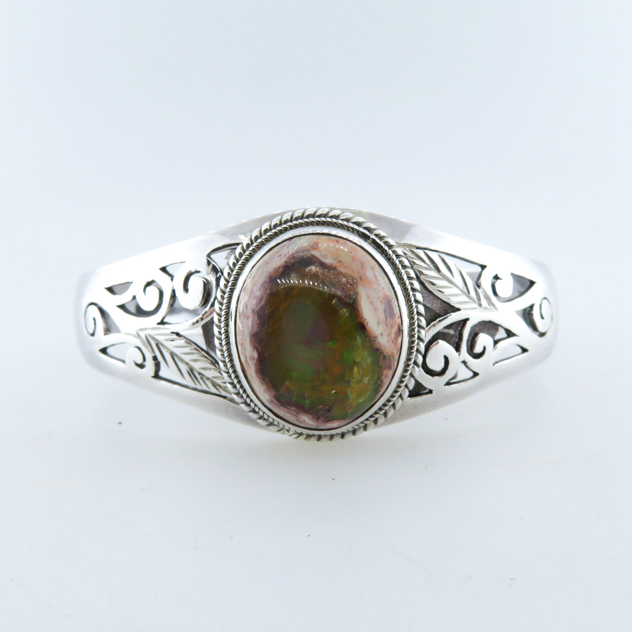 Sterling Silver Bangle with Mexican Opal