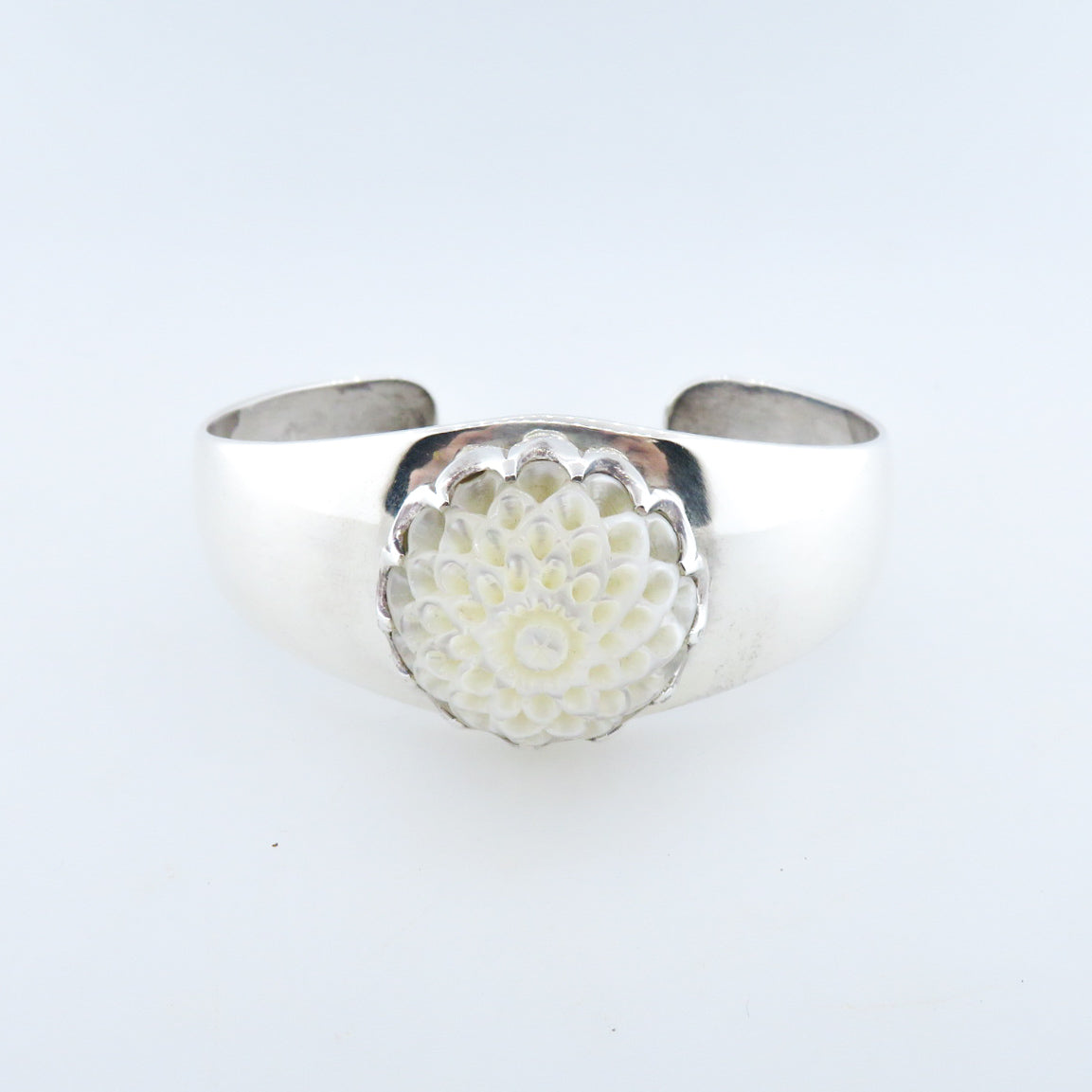 Sterling Silver Bangle with Mother of Pearl