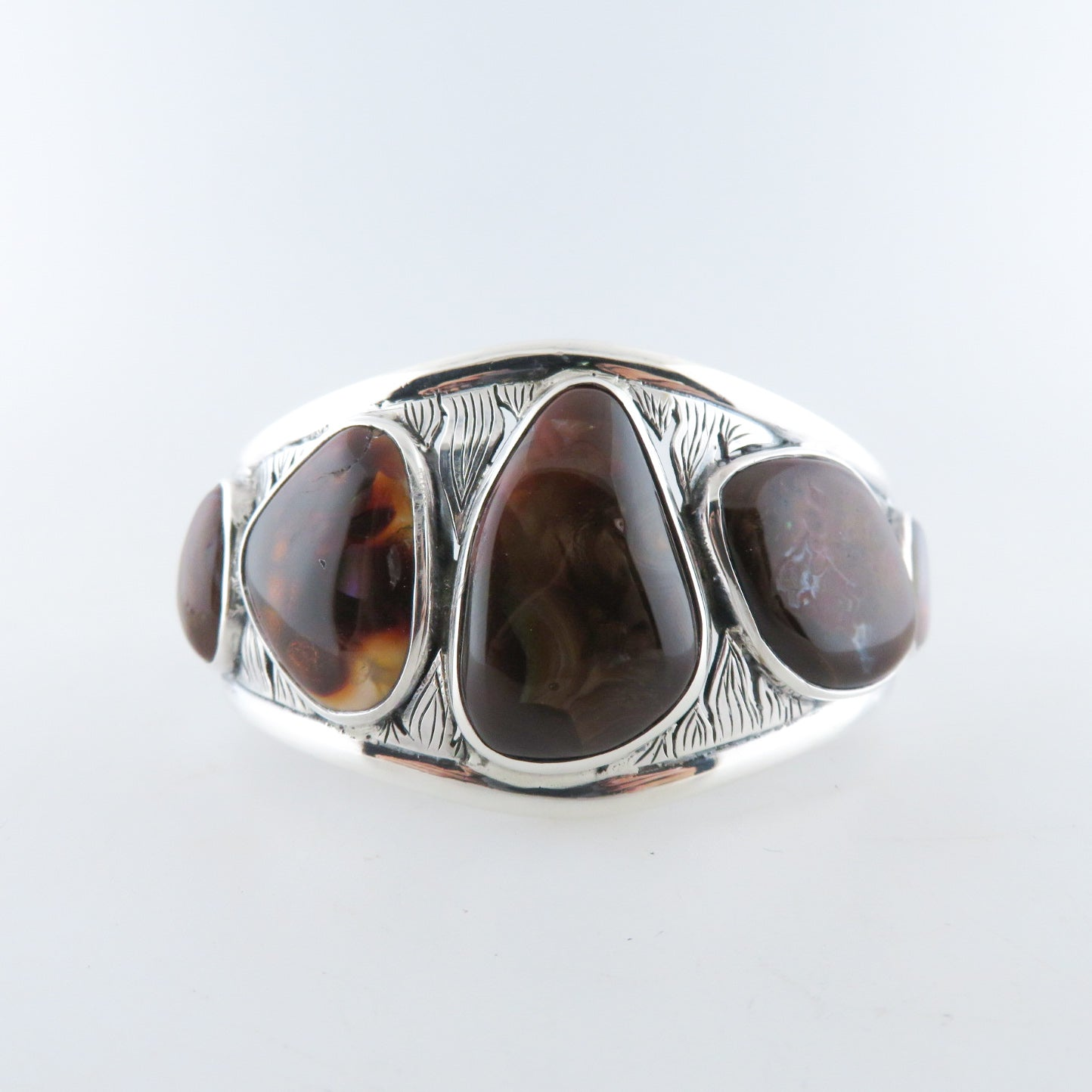 Sterling Silver Bangle with Fire Agate with Opal