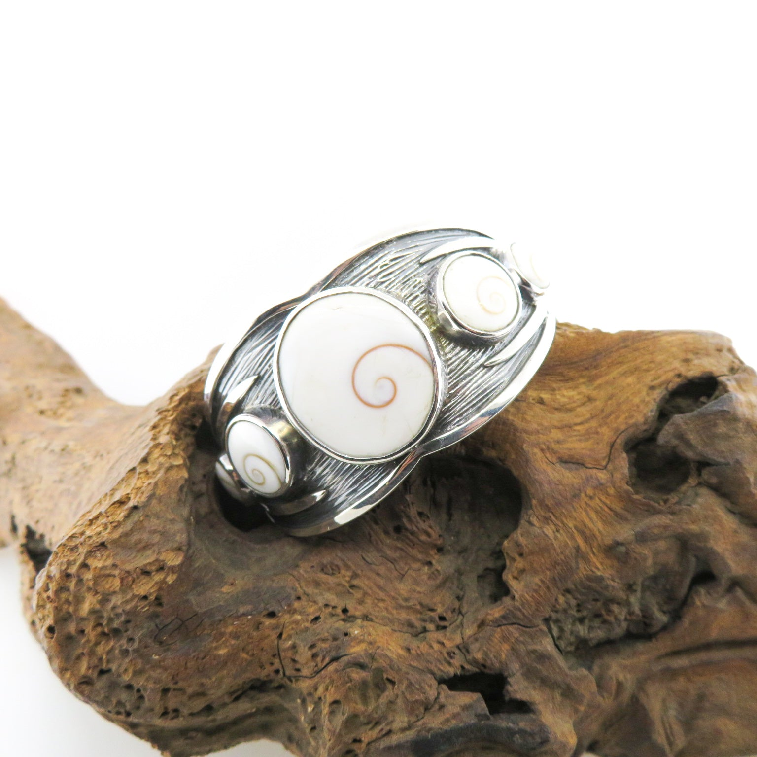 Sterling Silver Bangle with Shiva Eye Shell