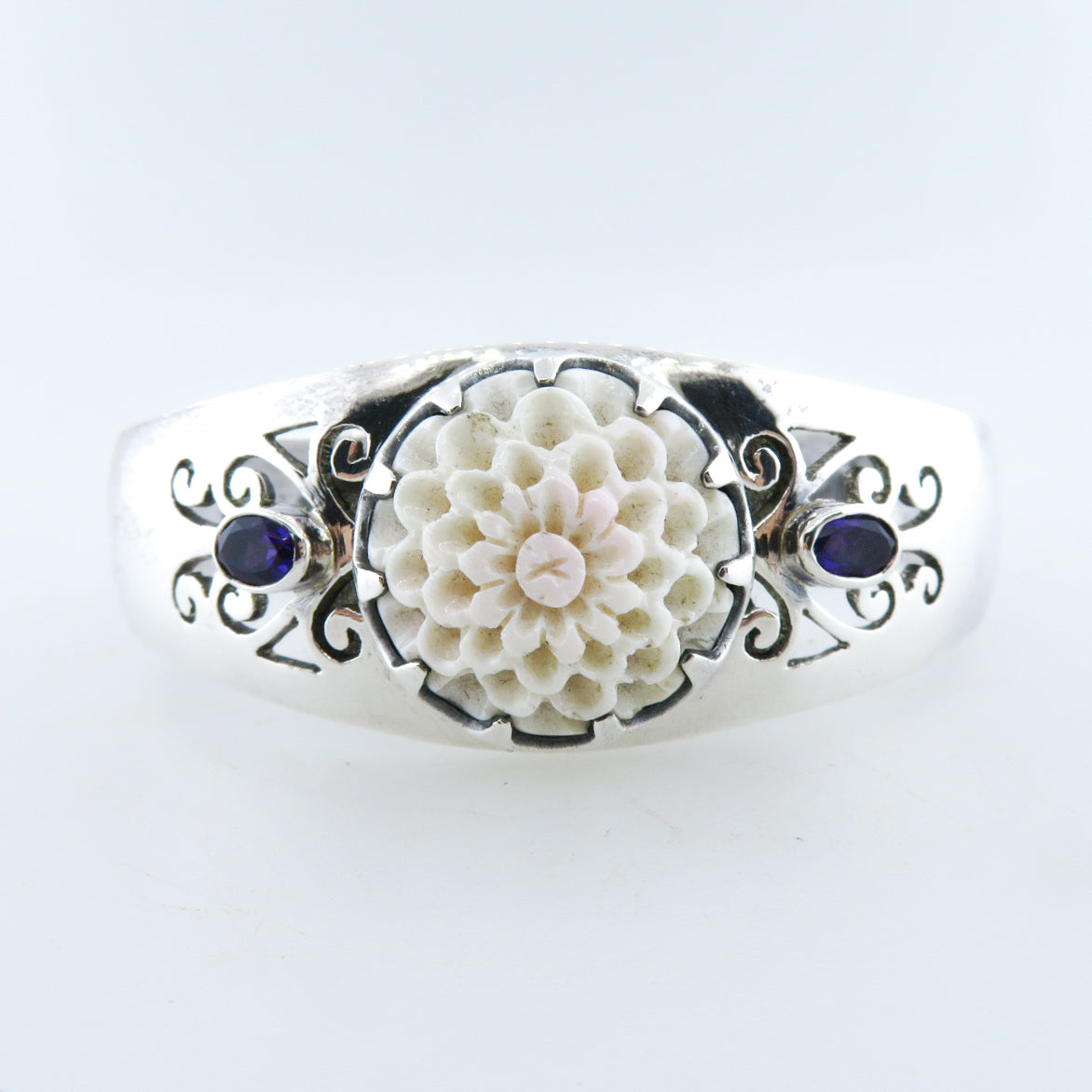 Sterling Silver Bangle with Shell Curved and Amethyst