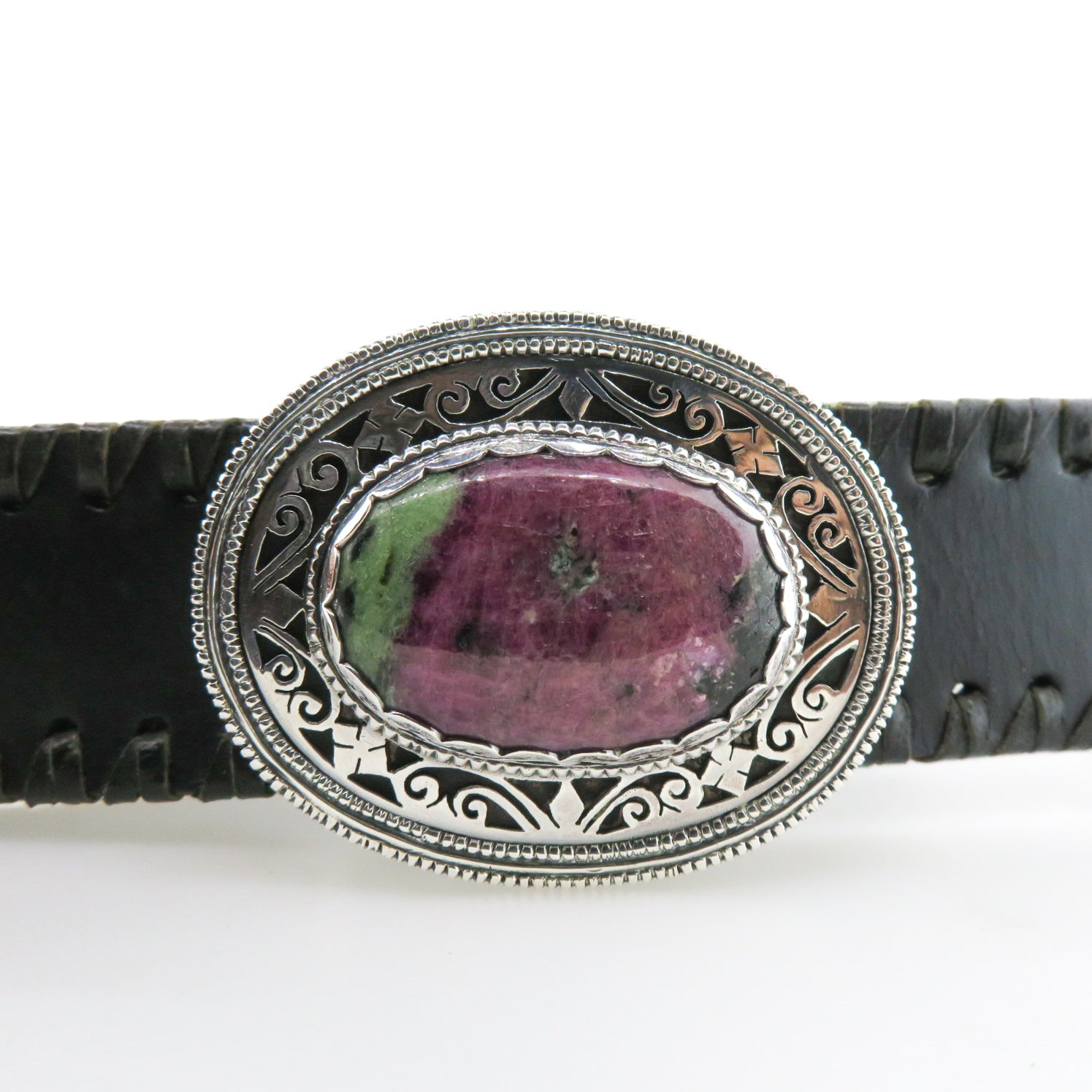 Sterling Silver Buckle with Ruby Zoisite