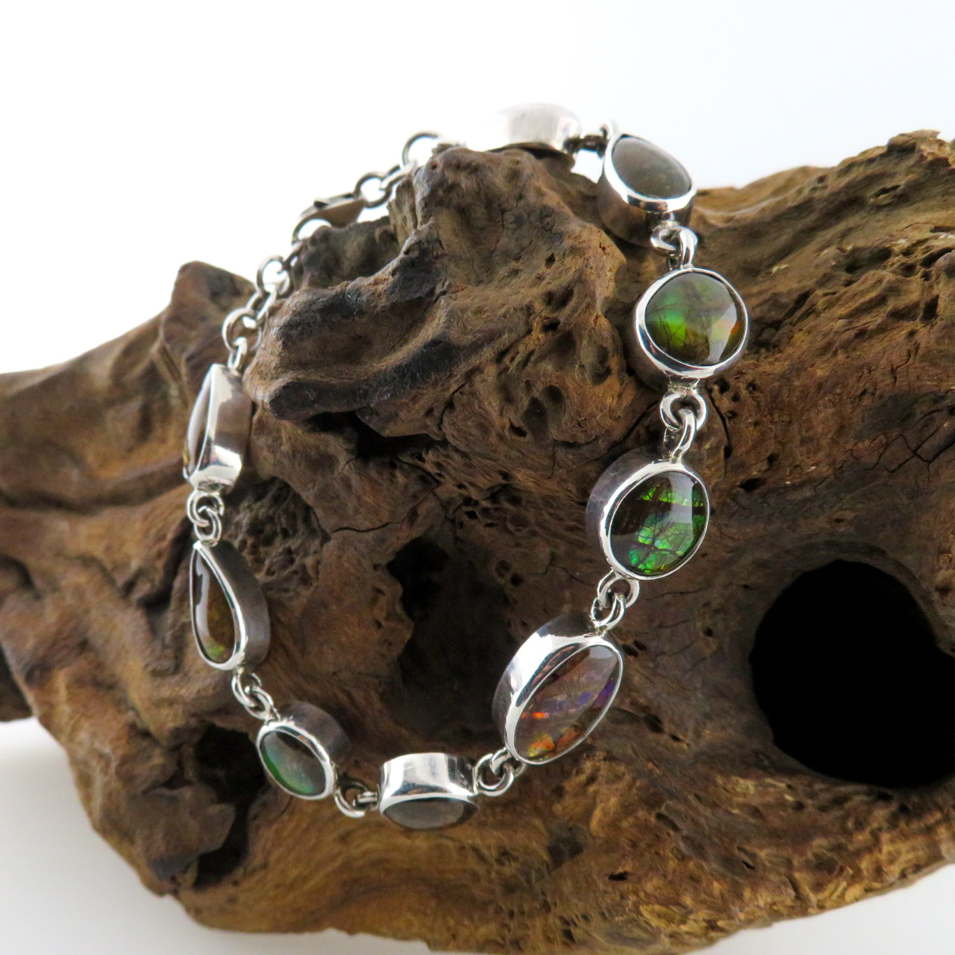 Ammonite Bracelet with Sterling Silver