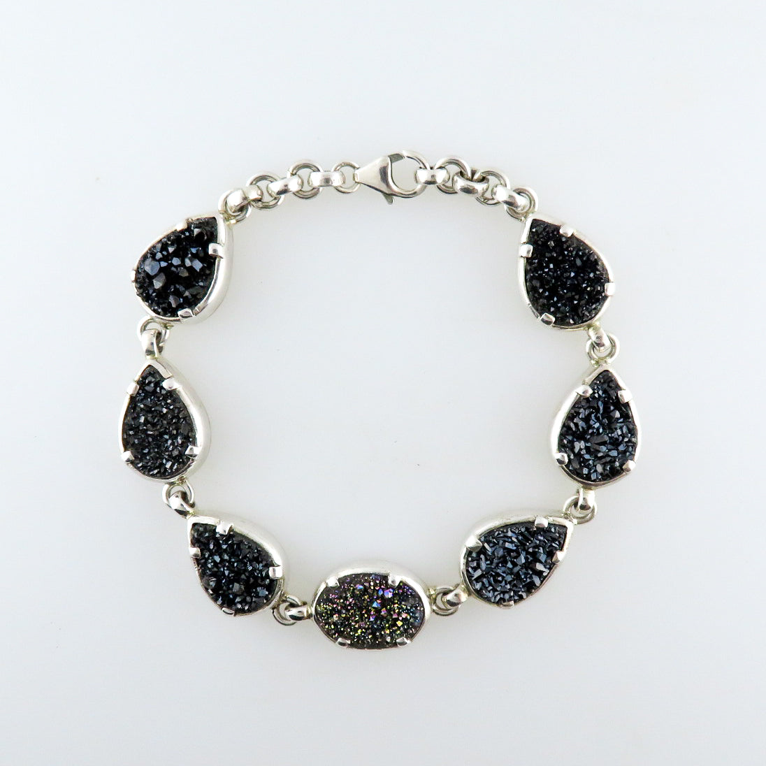 Drusy Quartz Bracelet with Sterling Silver