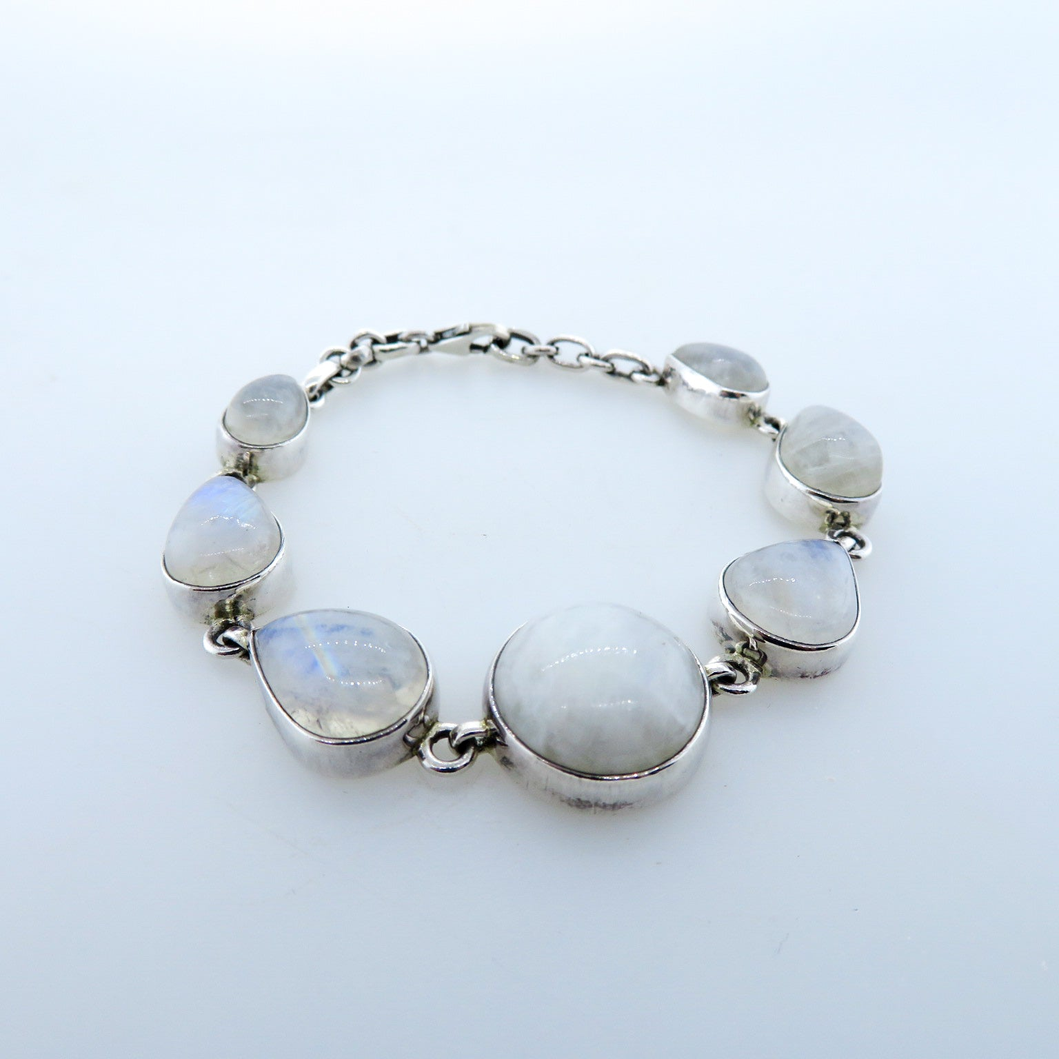 Rainbow Moon Stone Bracelet with Sterling Silver