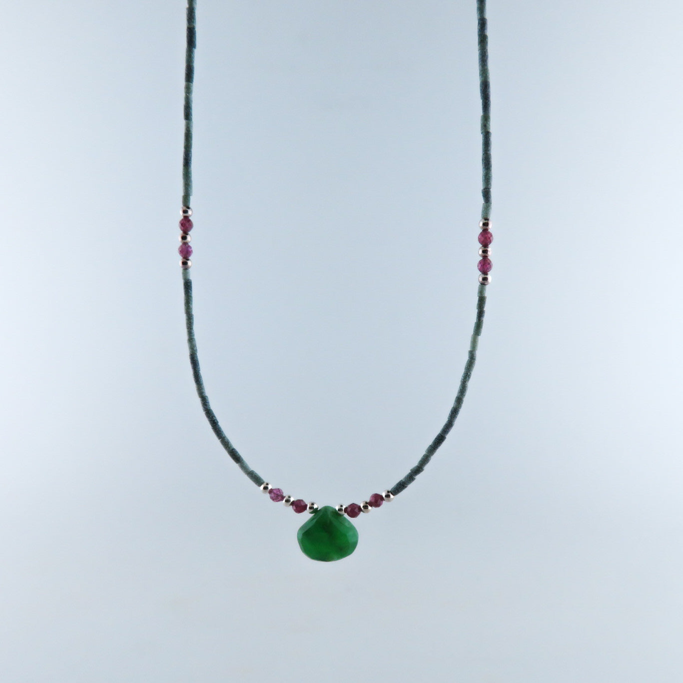 Jade Necklace with Chrysoprase, Garnet and Silver Beads