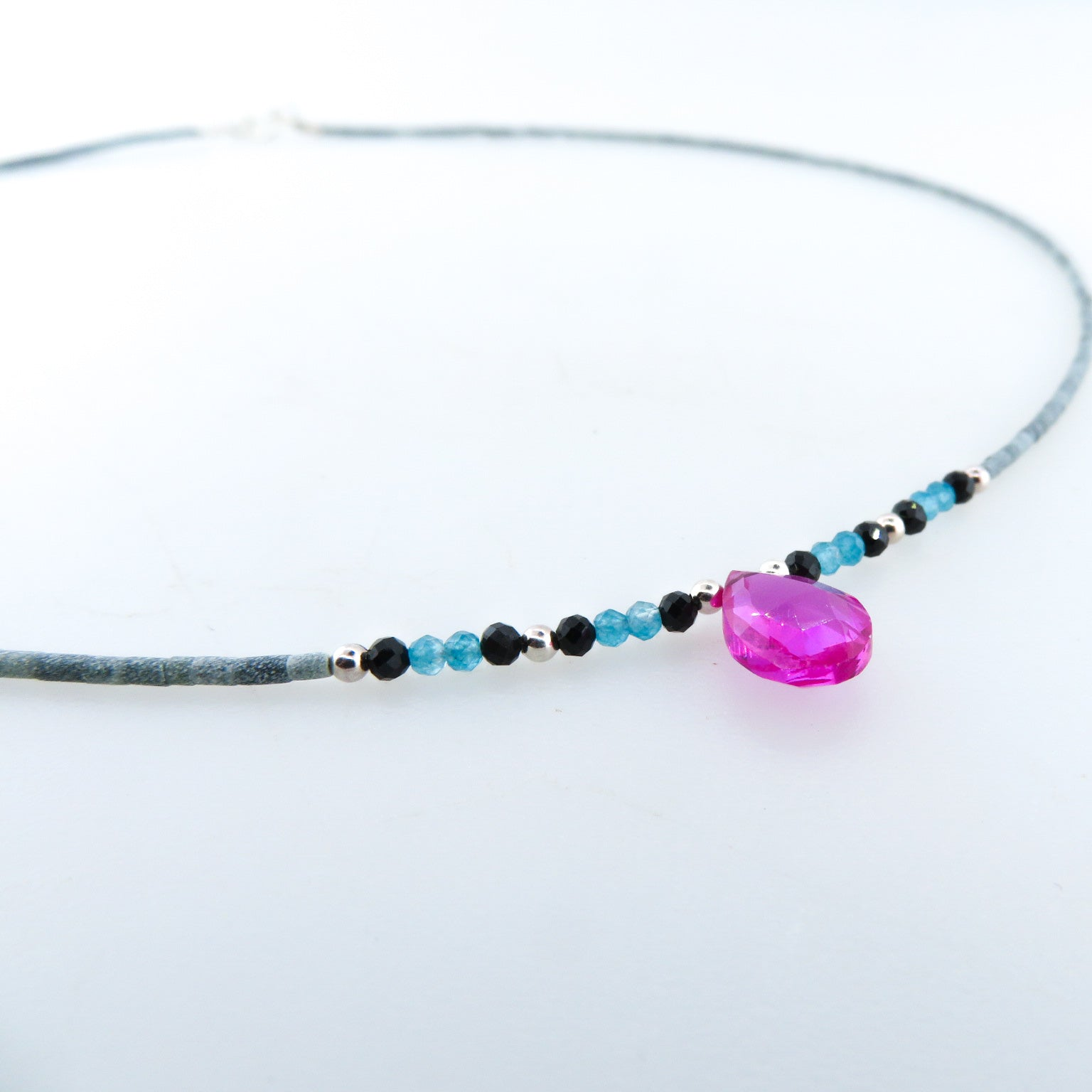 Jade Necklace with Pink Quartz, Blue Apatite, Black Onyx and Silver Beads