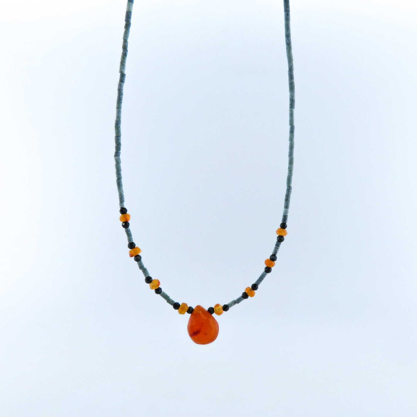 Jade Necklace with Carnelian, Black Onyx and Silver Beads