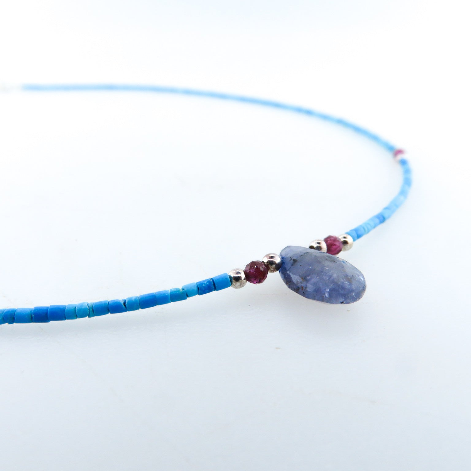 Turquoise Necklace with Iolite, Garnet and Silver Beads