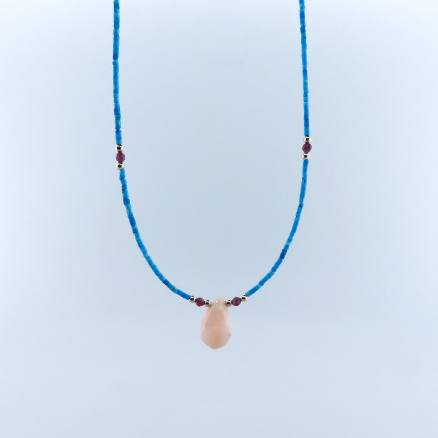 Turquoise Necklace with Agate, Garnet and Silver Beads