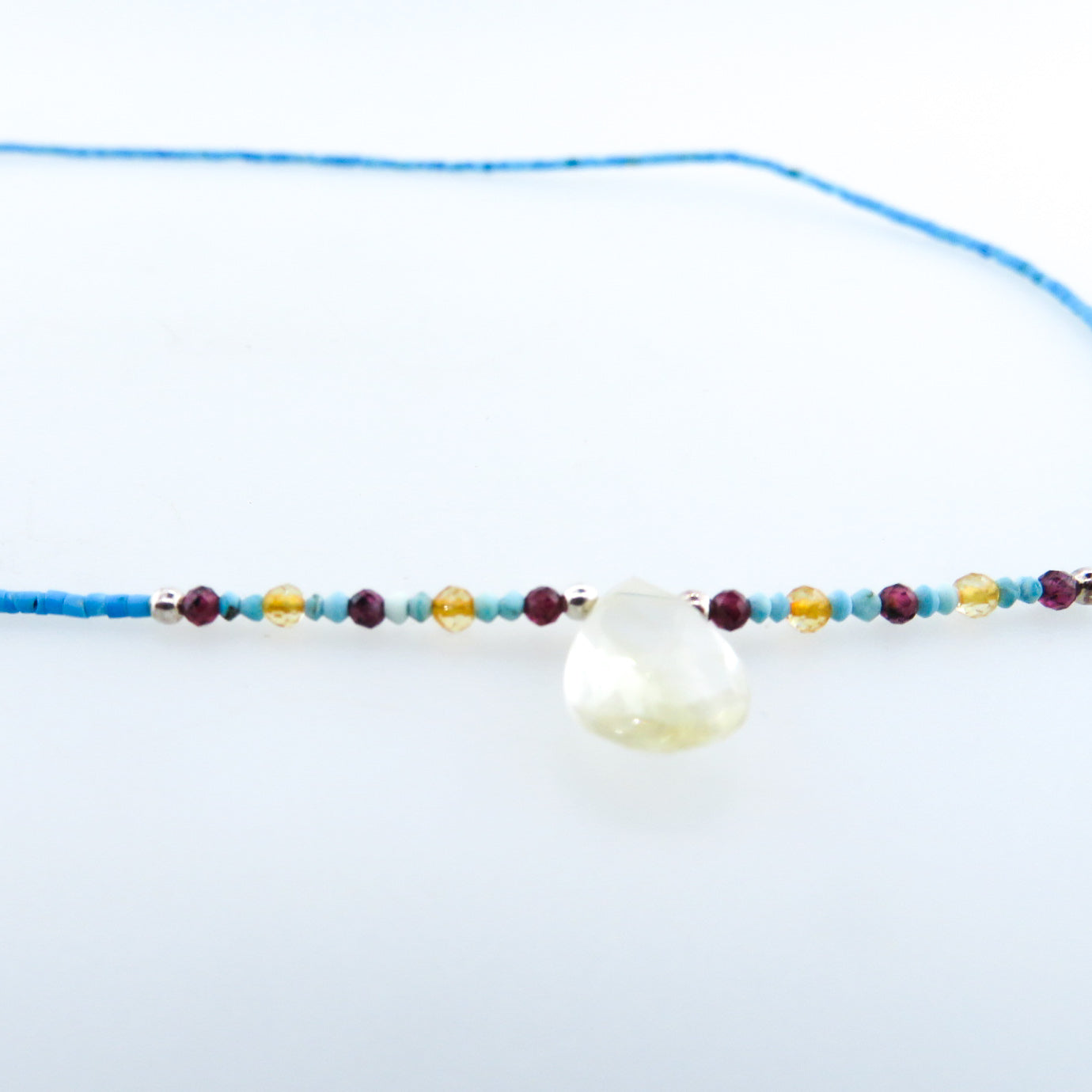 Turquoise Necklace with Citrine, Garnet, Carnelian and Silver Beads
