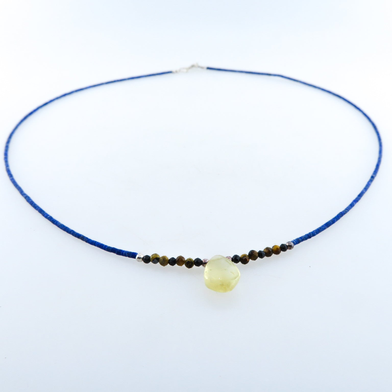 Lapis Lazuli Necklace with Citrine, Tiger's Eye, Black Onyx and Silver Brads