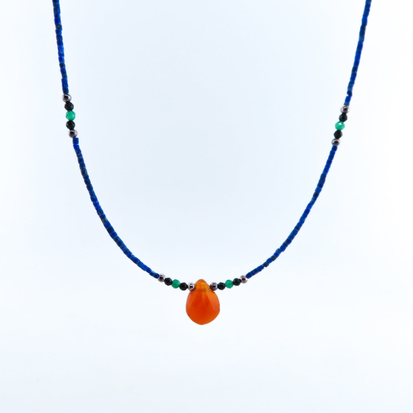 Lapis Lazuli Necklace with Carnelian, Green Onyx, Black Onyx and Silver Beads
