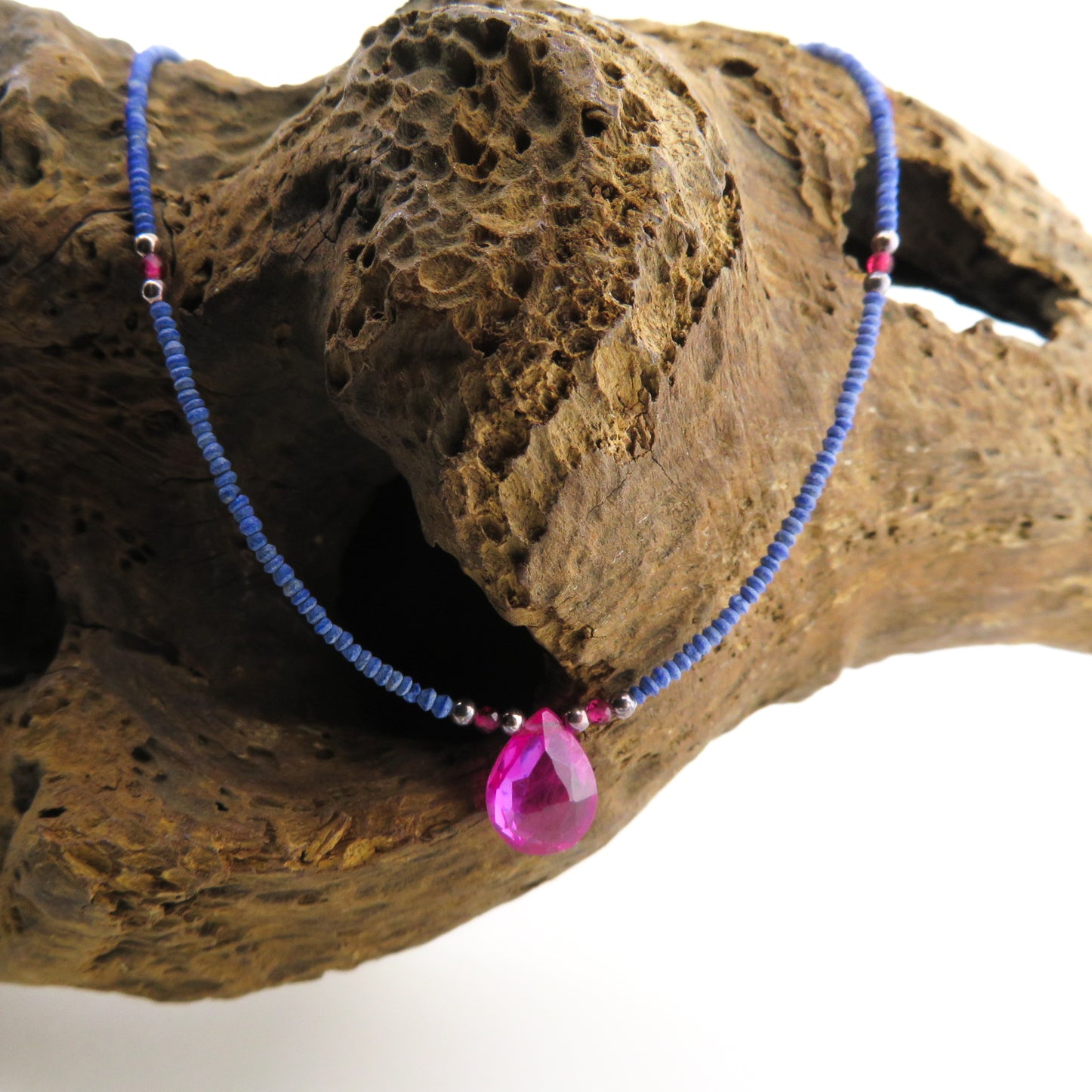 Lapis Lazuli Necklace with Pink Quartz, Garnet and Silver Beads
