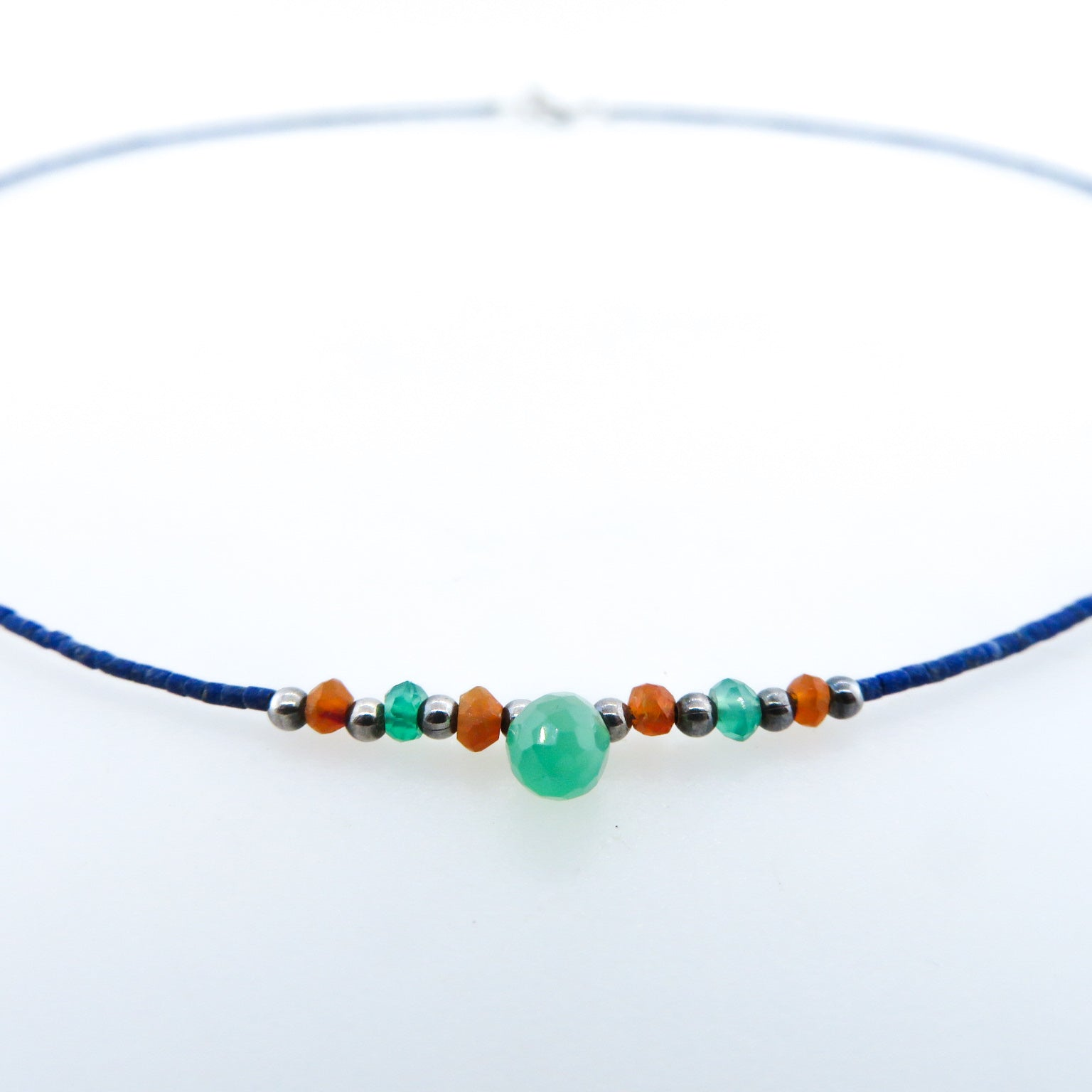 Lapis Lazuli Necklace with Green Onyx, Carnelian and Silver Beads