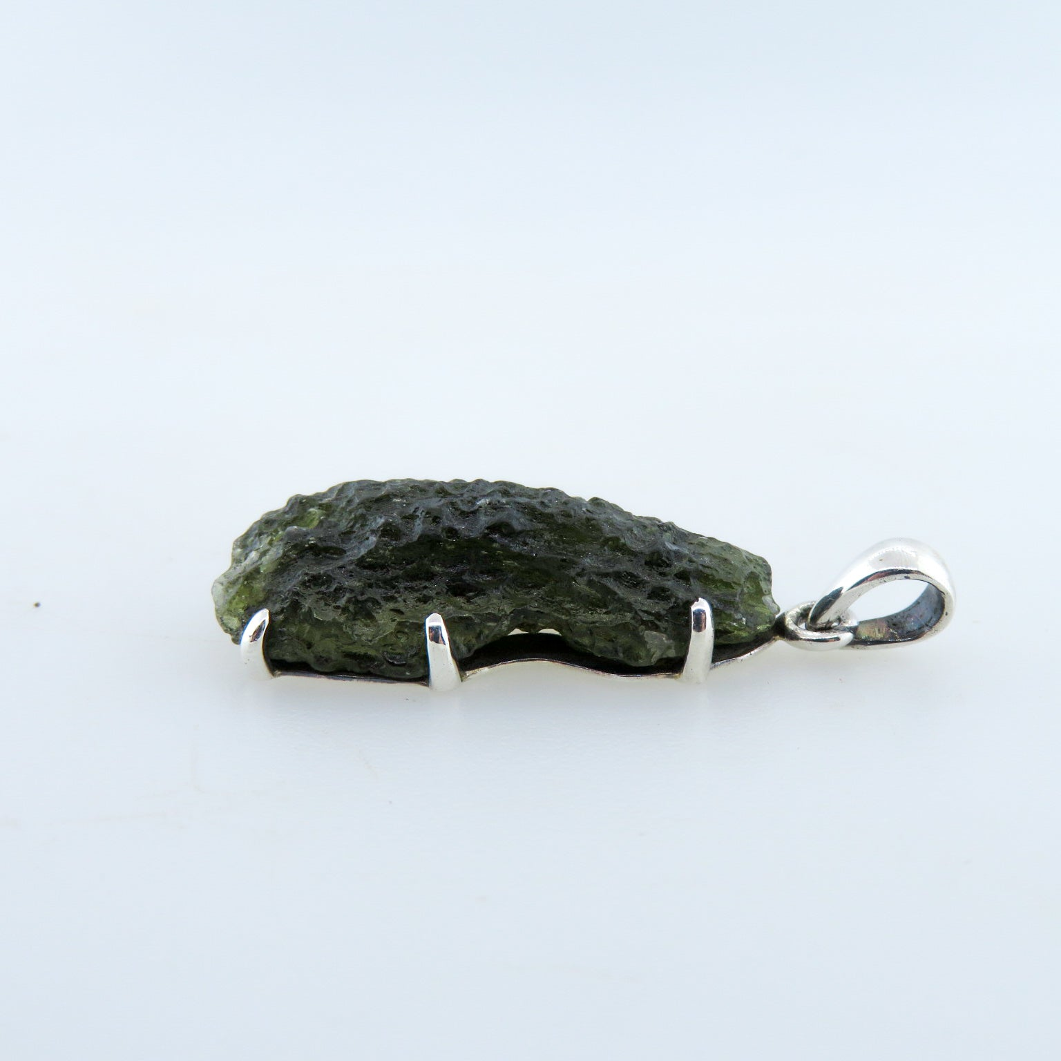 Moldavite (Meteorite) Pendant with Sterling Silver
