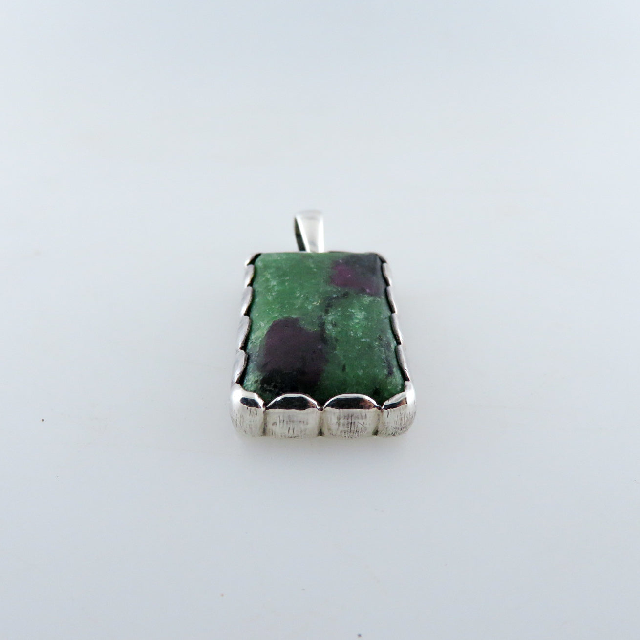 Ruby Zoisite Pendant with Sterling Silver