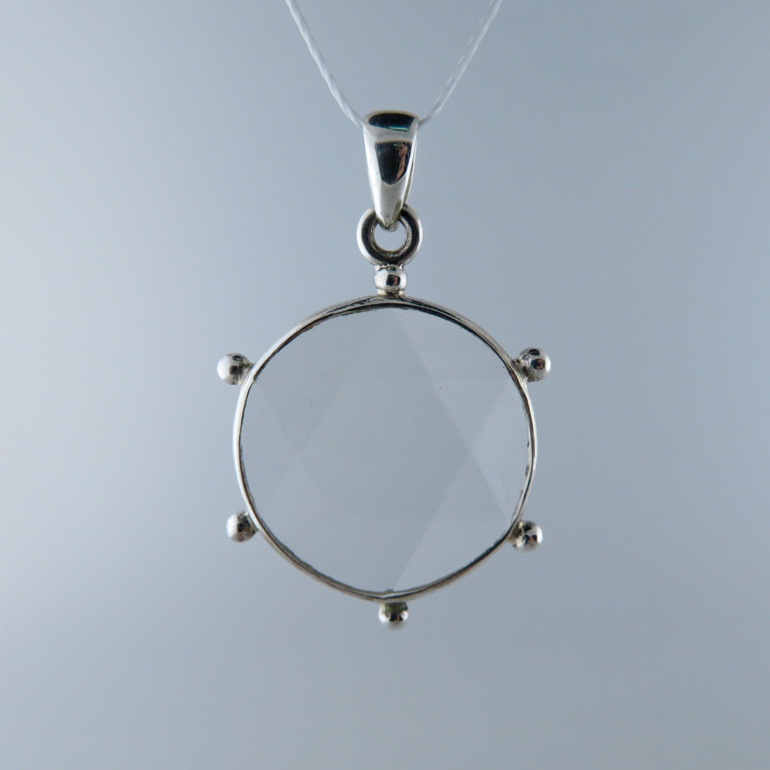 Clear Quartz (David Star) Pendant with Sterling Silver