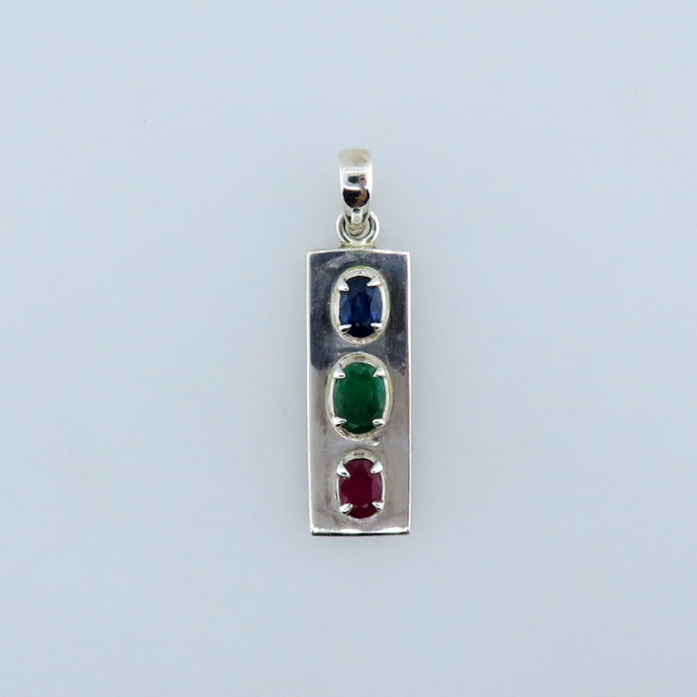Sterling Silver Pendant with Blue Sapphire, Emerald and Ruby
