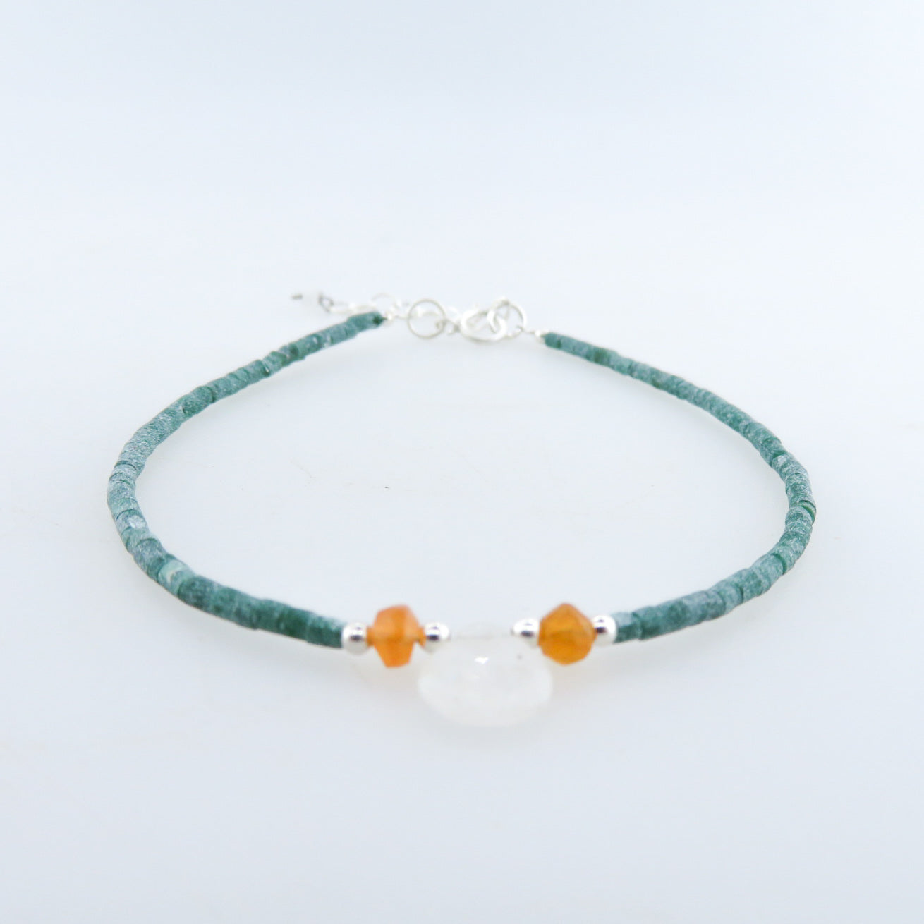 Emerald Bracelet with Rainbow Moon Stone, Carnelian and Silver Beads