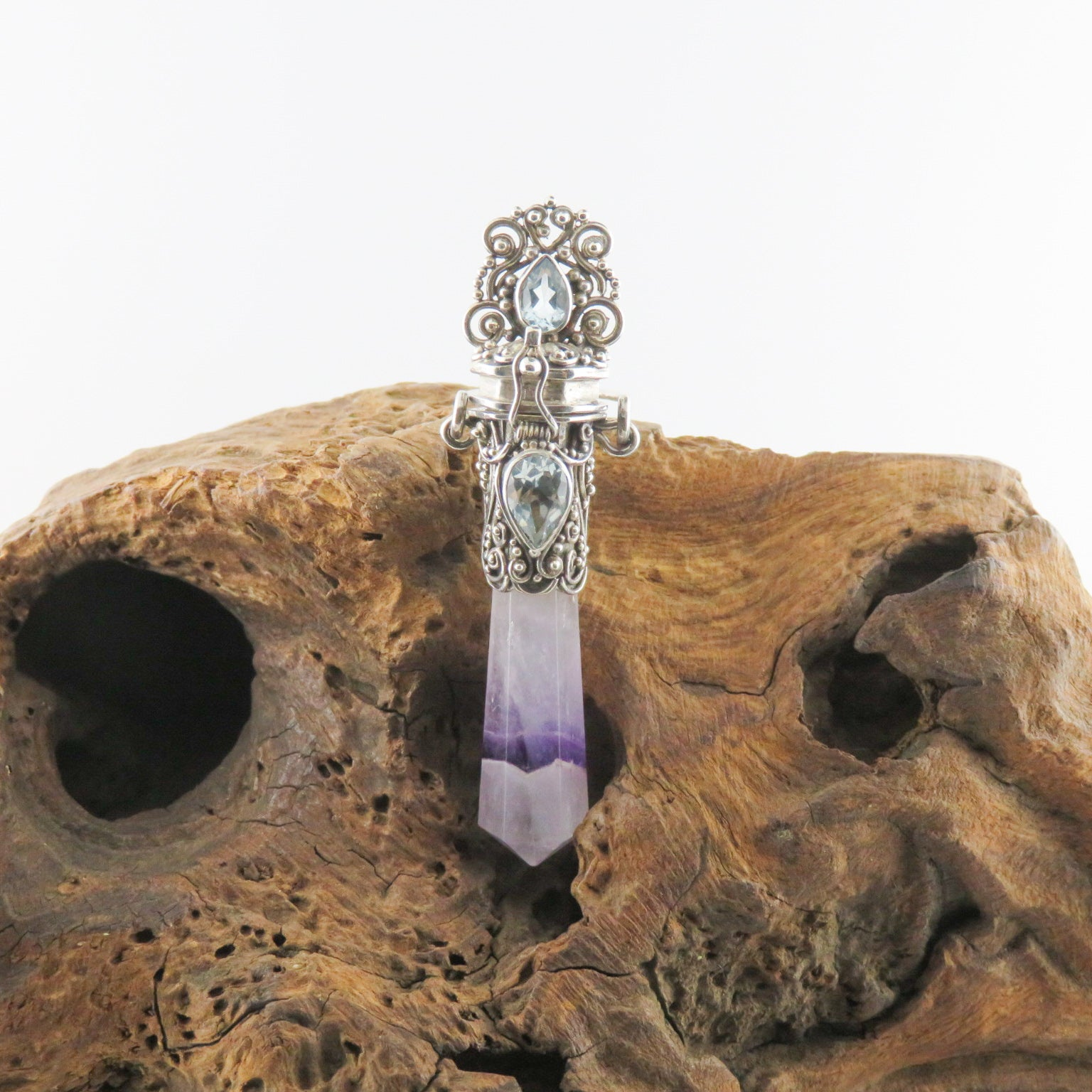 Amethyst Sterling Silver Pendant with Blue Topaz
