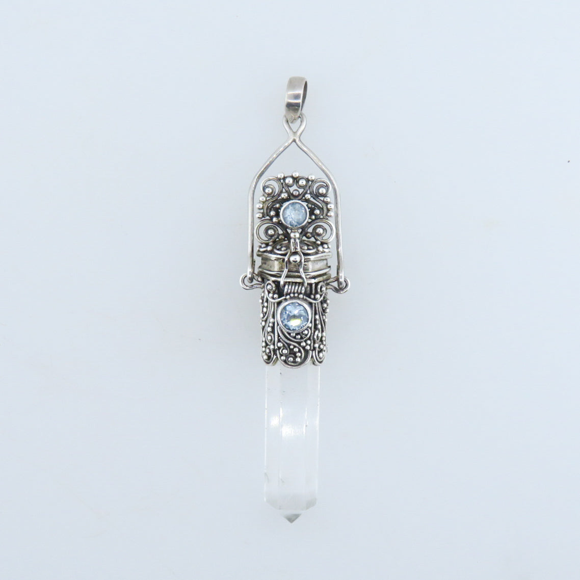 Crystal Sterling Silver Pendant with Blue Topaz