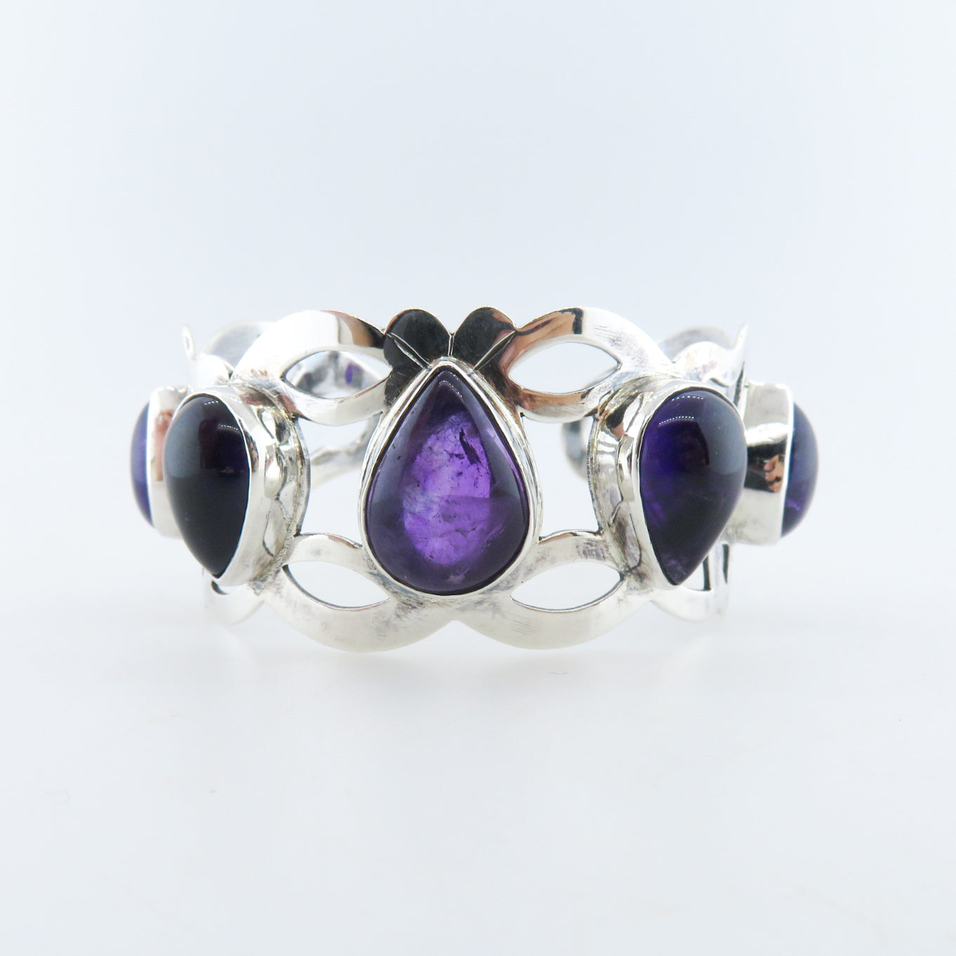 Sterling Silver Bangle with Amethyst