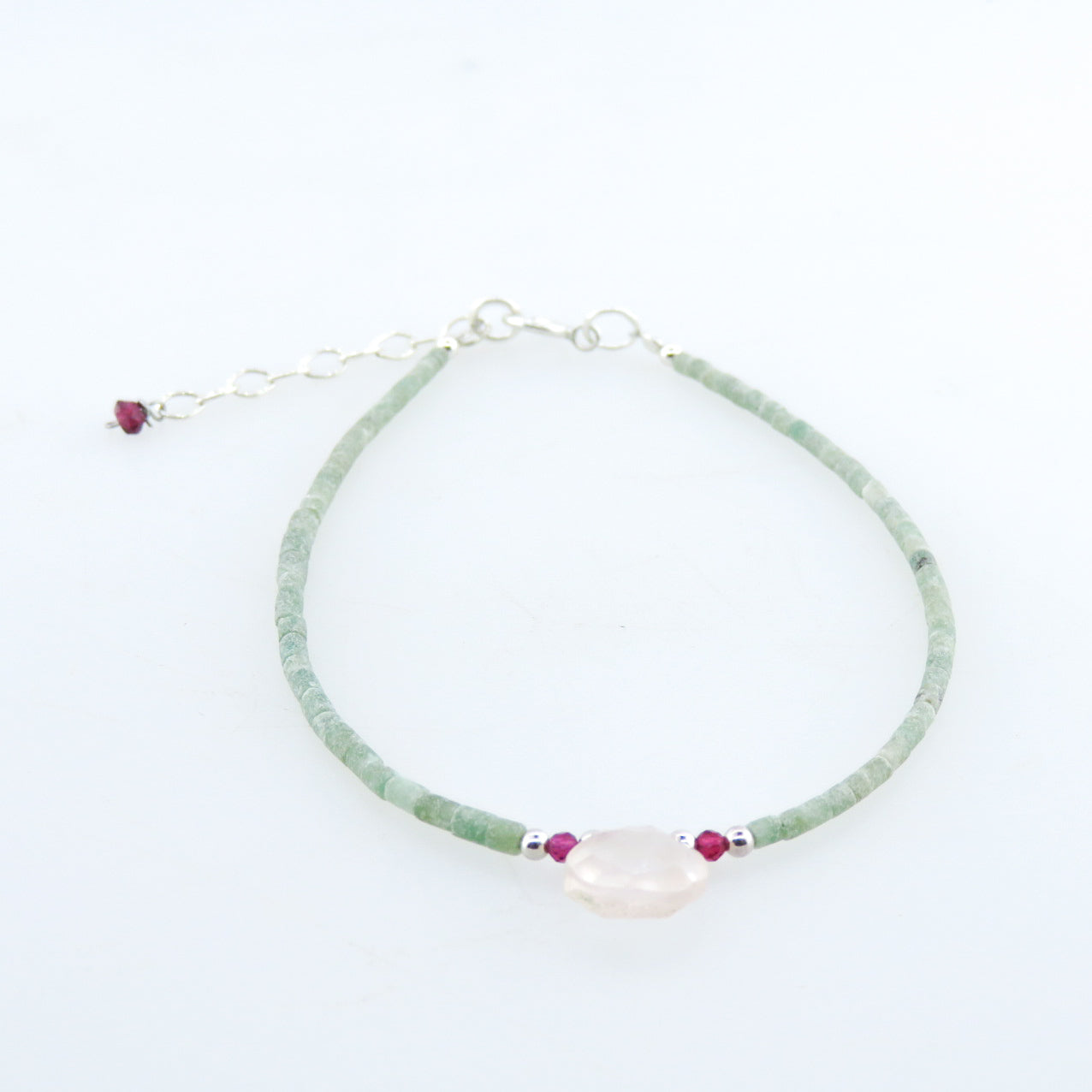 Jade Bracelet with Rose Quartz, Garnet and Silver Beads