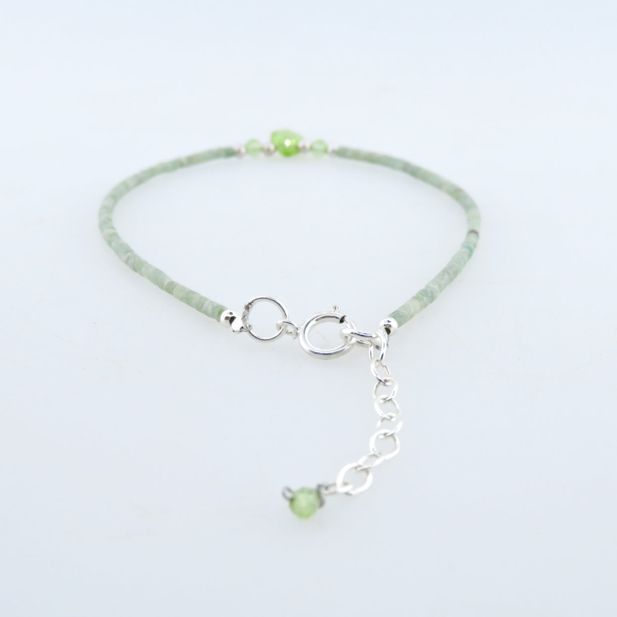 Jade Bracelet with Peridot and Silver Beads