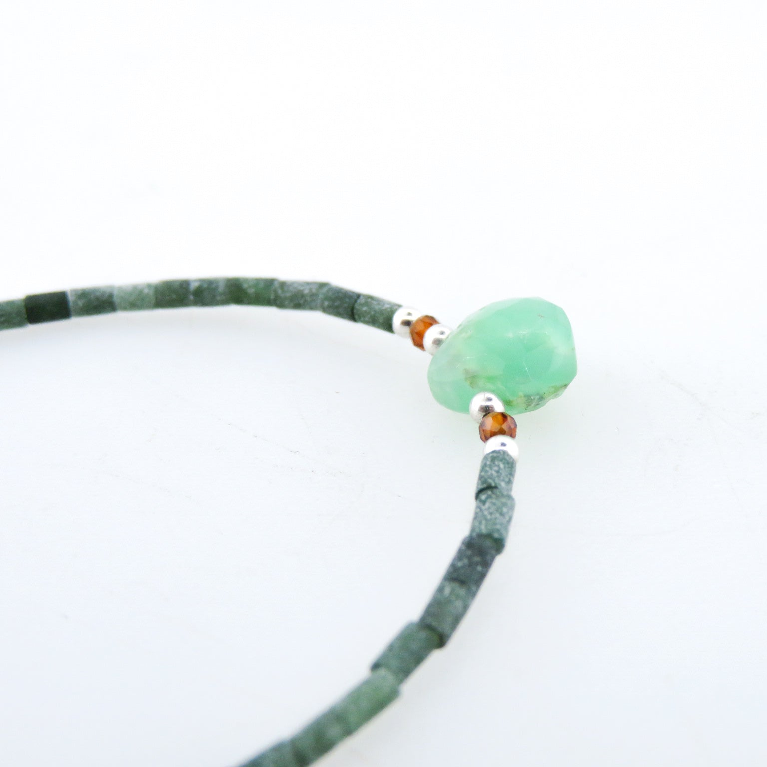 Jade Bracelet with Chrysoprase, Garnet and Silver Beads