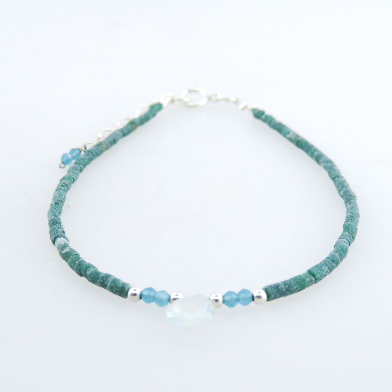 Emerald Bracelet with Blue Topaz and Silver Beads
