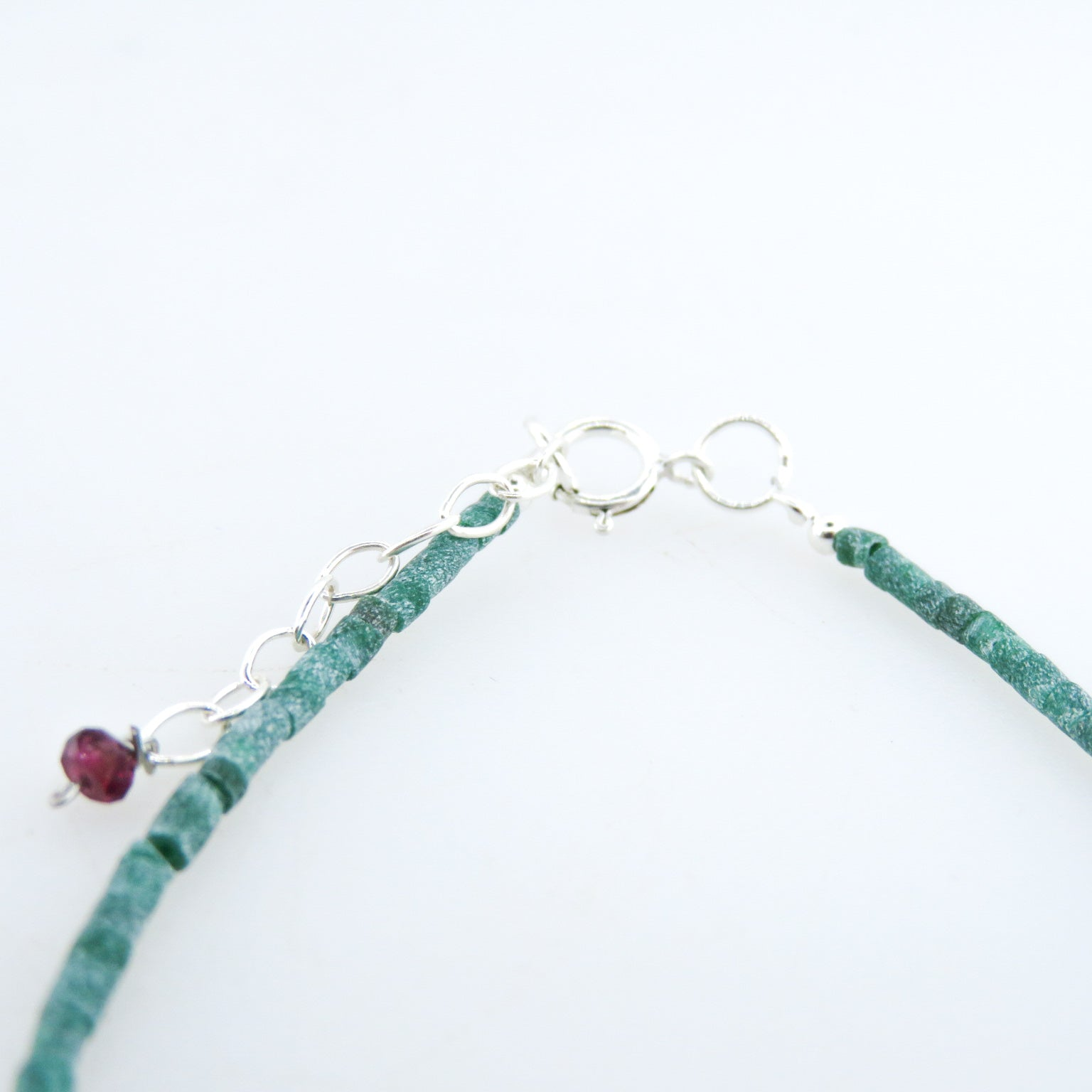 Emerald Bracelet with Blue Sapphire, Garnet and Silver Beads