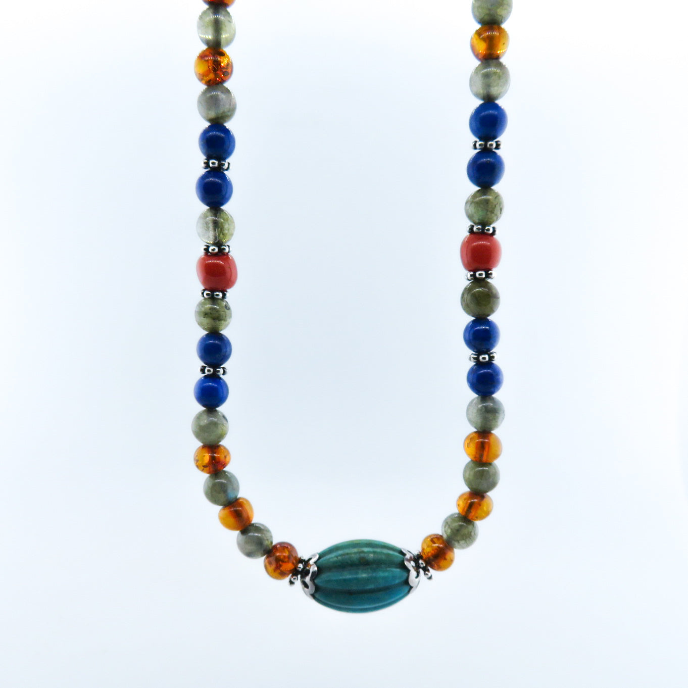 Mixed Stone Beads (Turquoise, Amber, Labradorite, Lapis Lazuli, Italian Red Coral) with Silver Beads