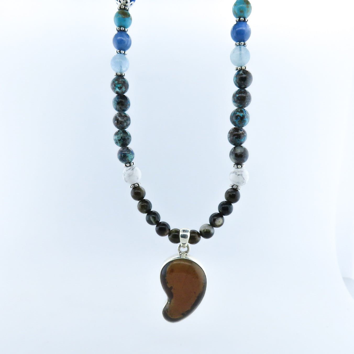 Amber Necklace with Chrysocolla, Aquamarine, Lapis Lazuli, Turquoise, Kyanite and Silver Beads.with Lava and Silver Beads