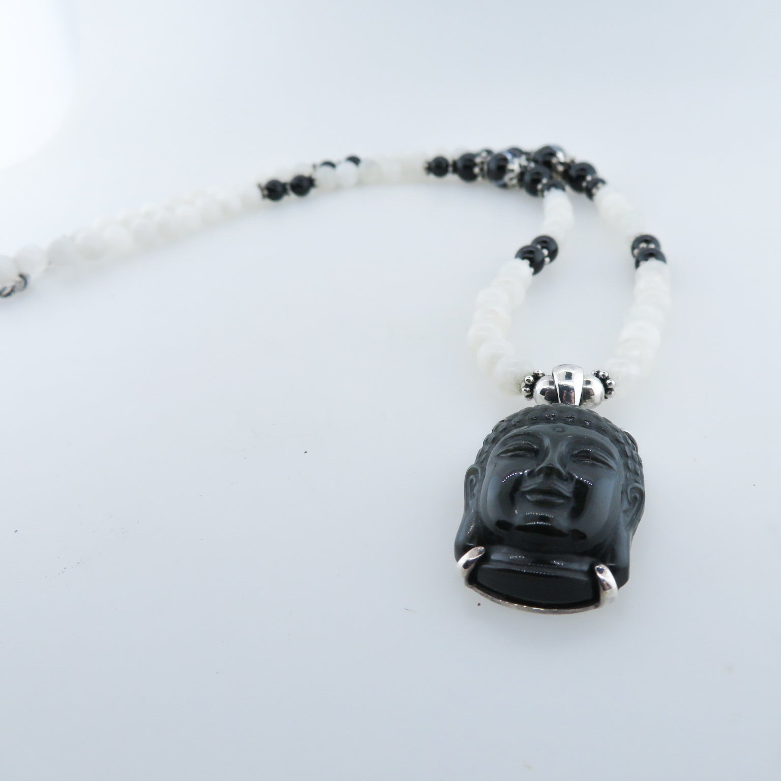 Obsidian Buddha Head Necklace with Rainbow Moon Stone, Black Onyx, Agate and Silver Beads