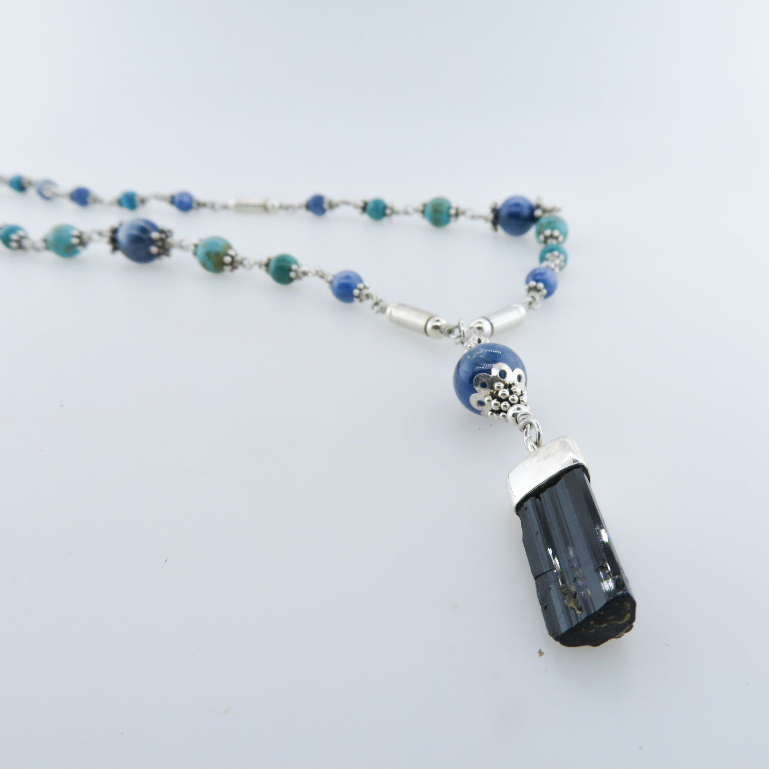 Black Tourmaline Necklace with Kyanite, Turquoise and Sterling Silver