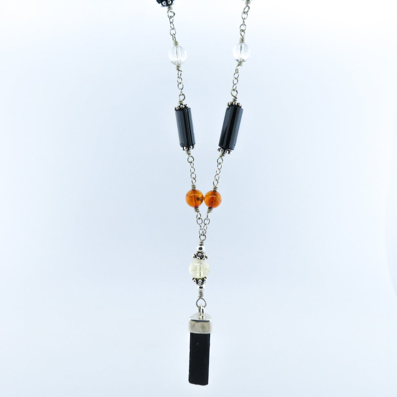 Black Tourmaline Necklace with Amber, Crystal, Citrine and Sterling Silver