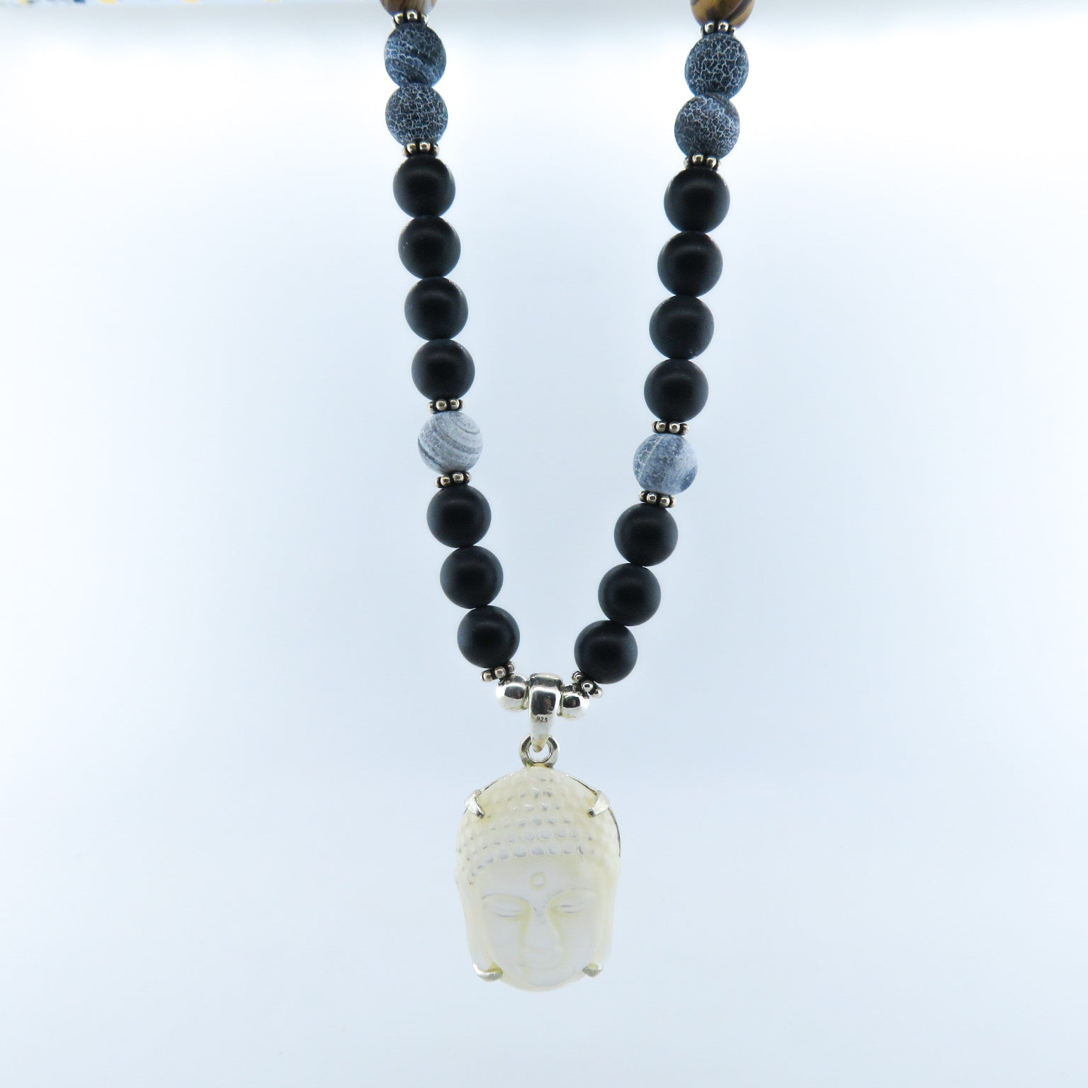 Mother of Pearl Buddha Head Necklace with Black Onyx, Agate, Lava and Silver Beads