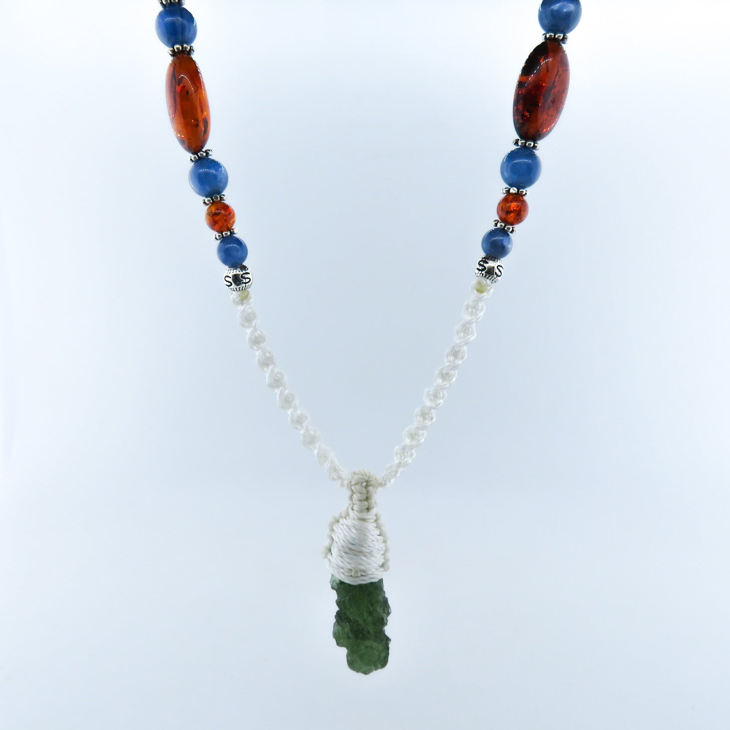 Moldavite (Meteorite) Mala with Amber, Kyanite and Silver Beads