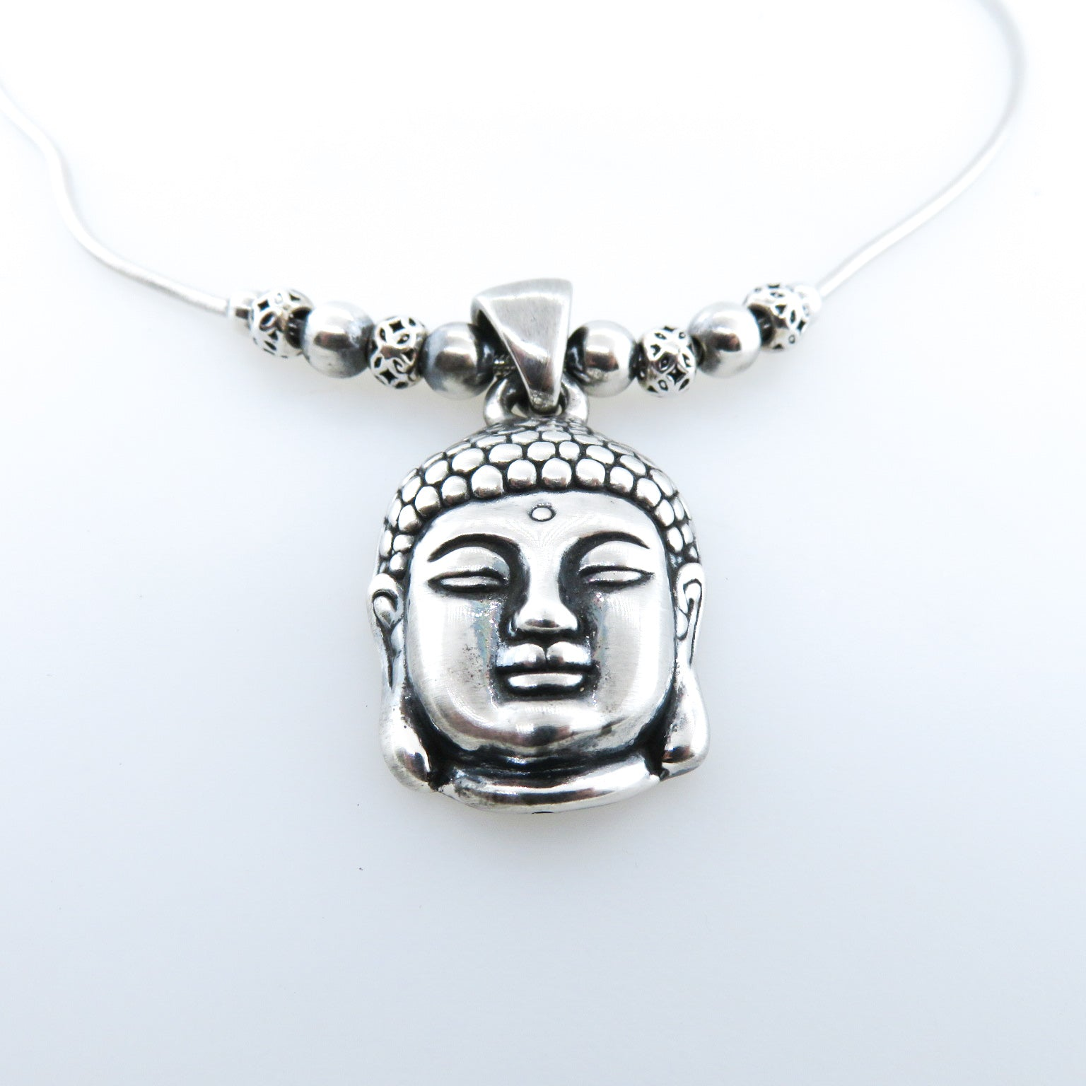 Sterling Silver Buddha Head Necklace