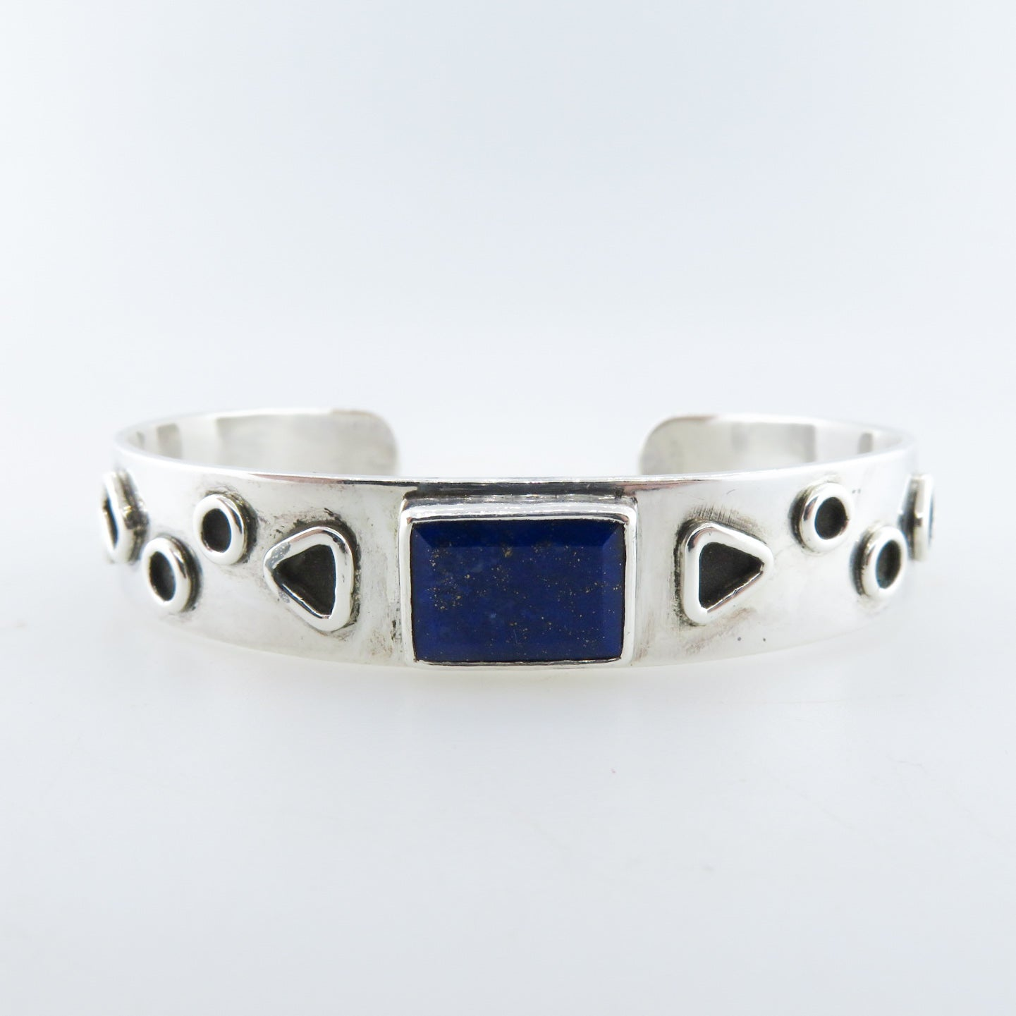 Sterling Silver Bangle with Lapis Lazuli
