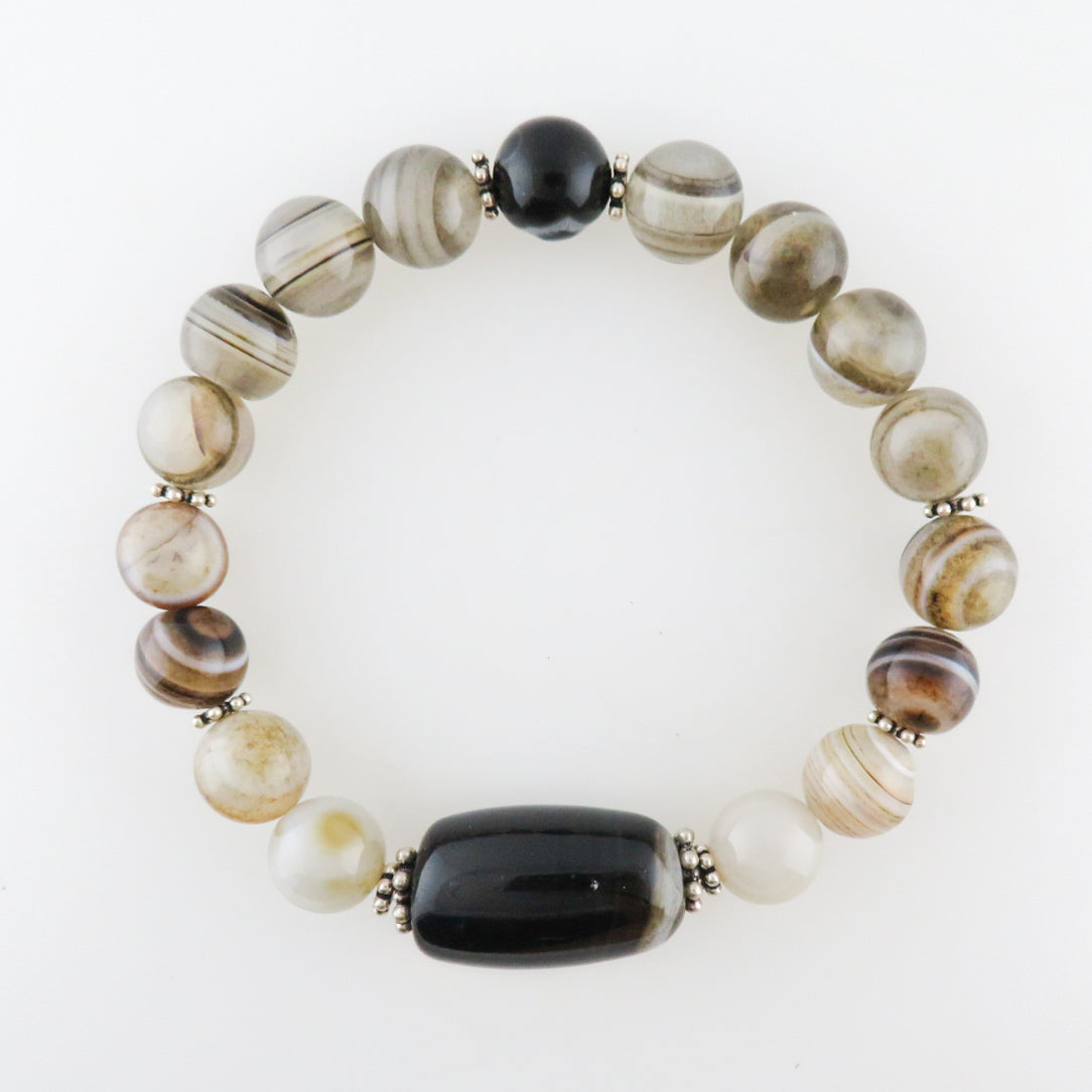 Agate Beads Bracelet with Silver Beads