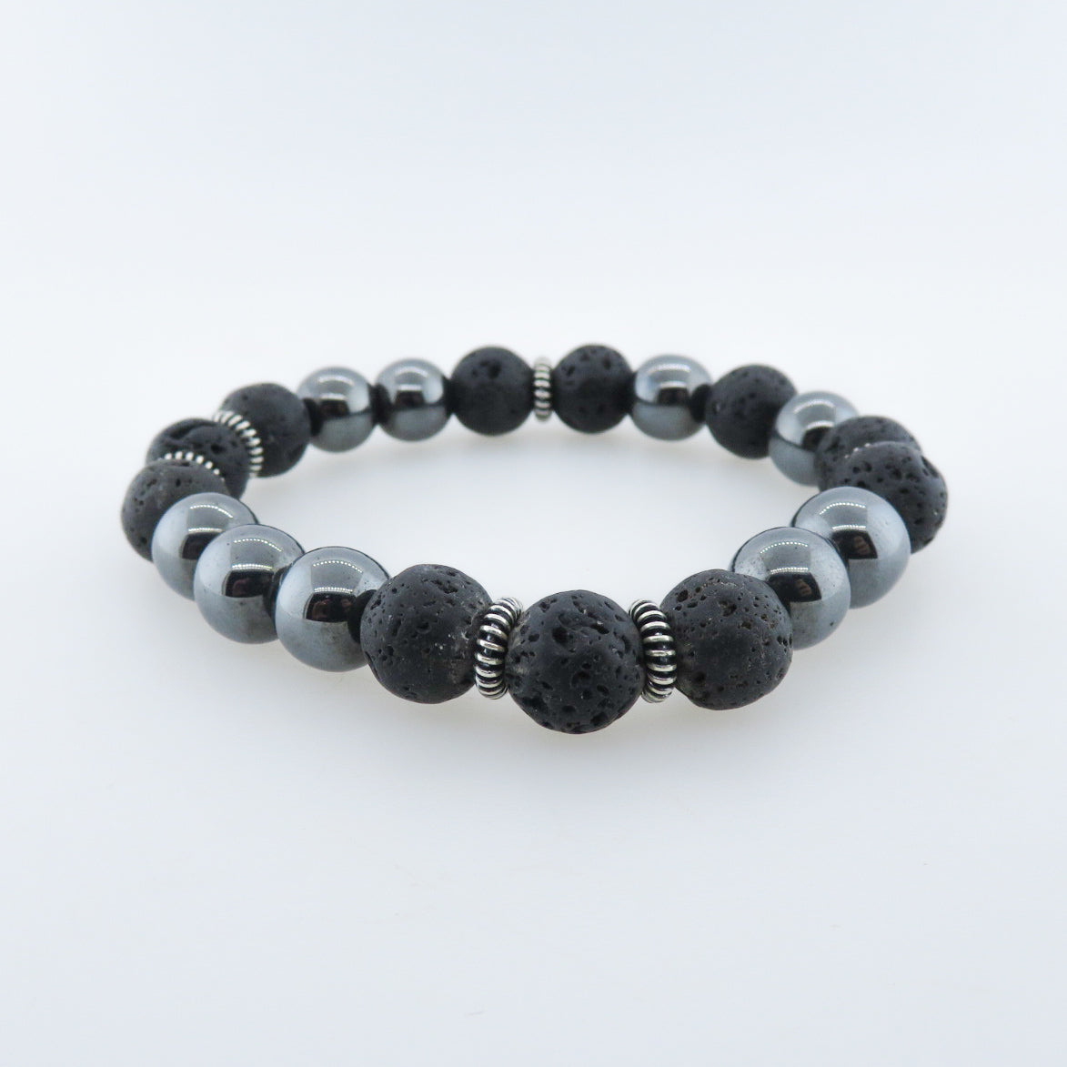 Terahertz Beads Bracelet with Lava and Silver Beads