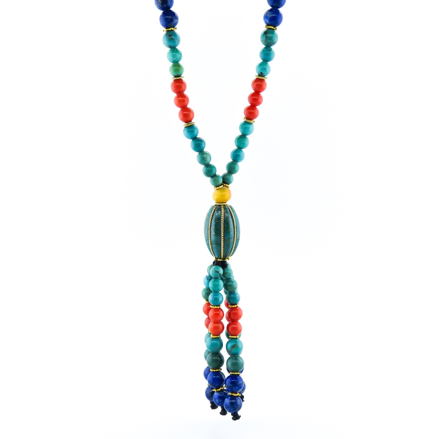 Turquoise Necklace with Red Coral, Lapis Lazuli, Amber and 18k Gold