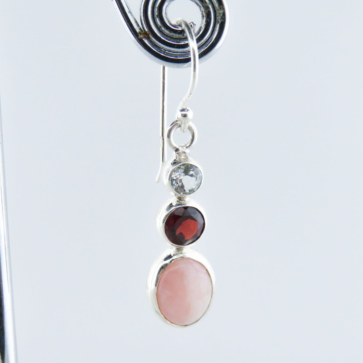 Pink Opal Sterling Silver Earrings with Garnet and Aquamarine