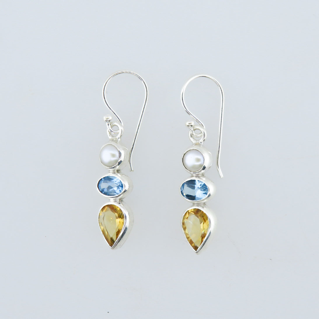 Citrine Sterling Silver Earrings with Blue Topaz and Fresh Water Pearls